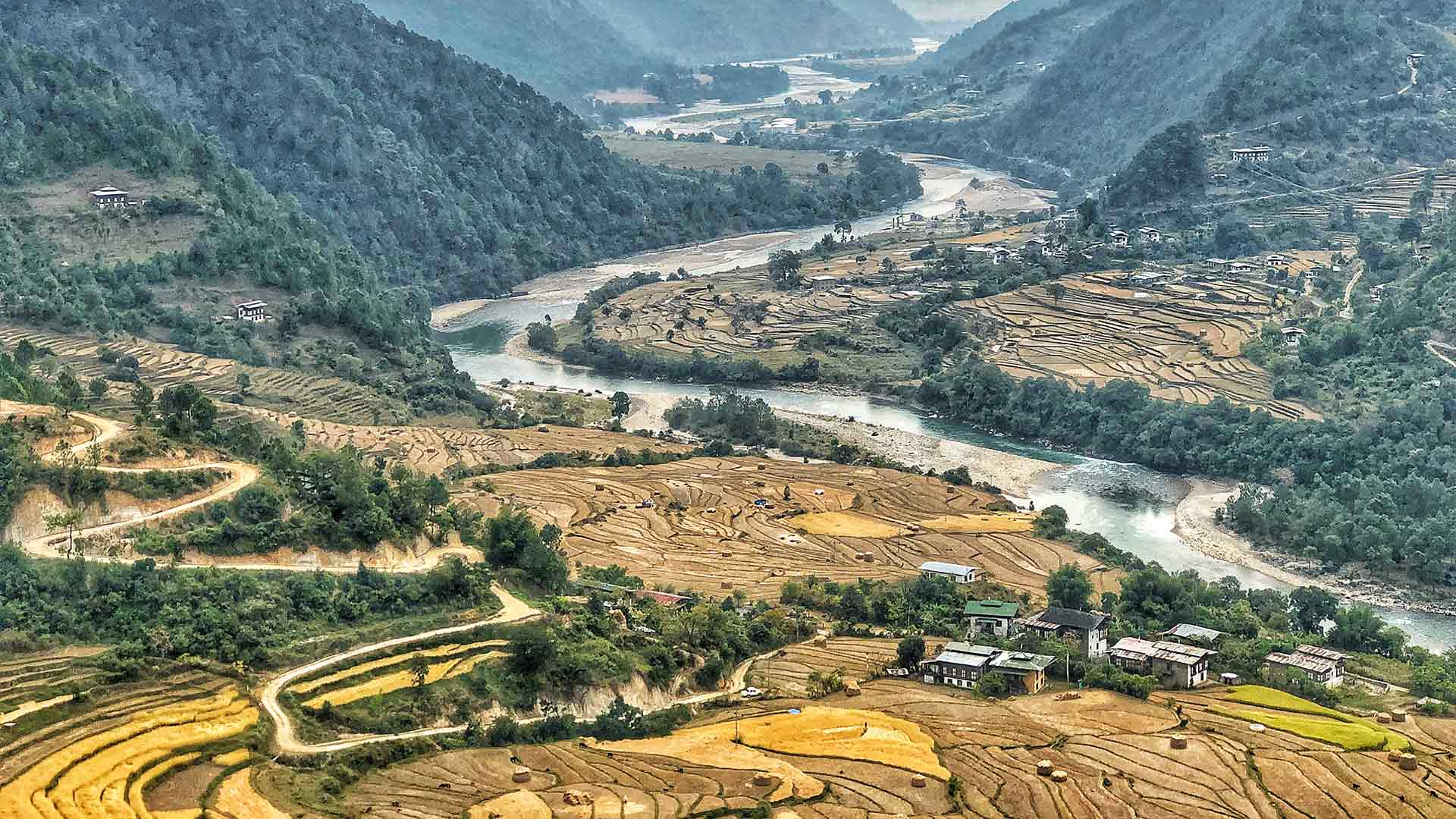Bhutan river and countryside, aerial view