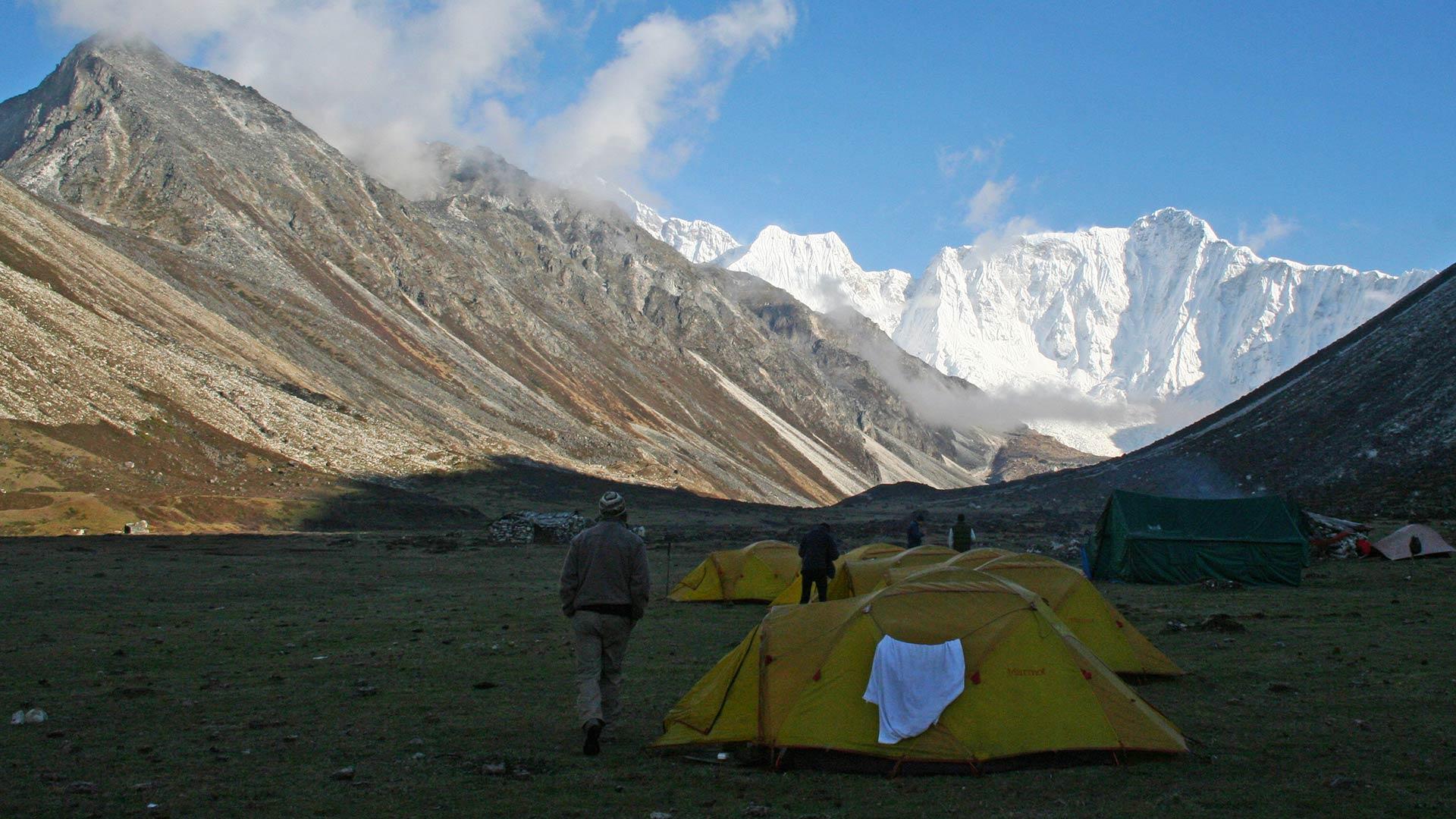 Tents at Barmarpa Camp along the Gangkhar Puensum trek in Bhutan