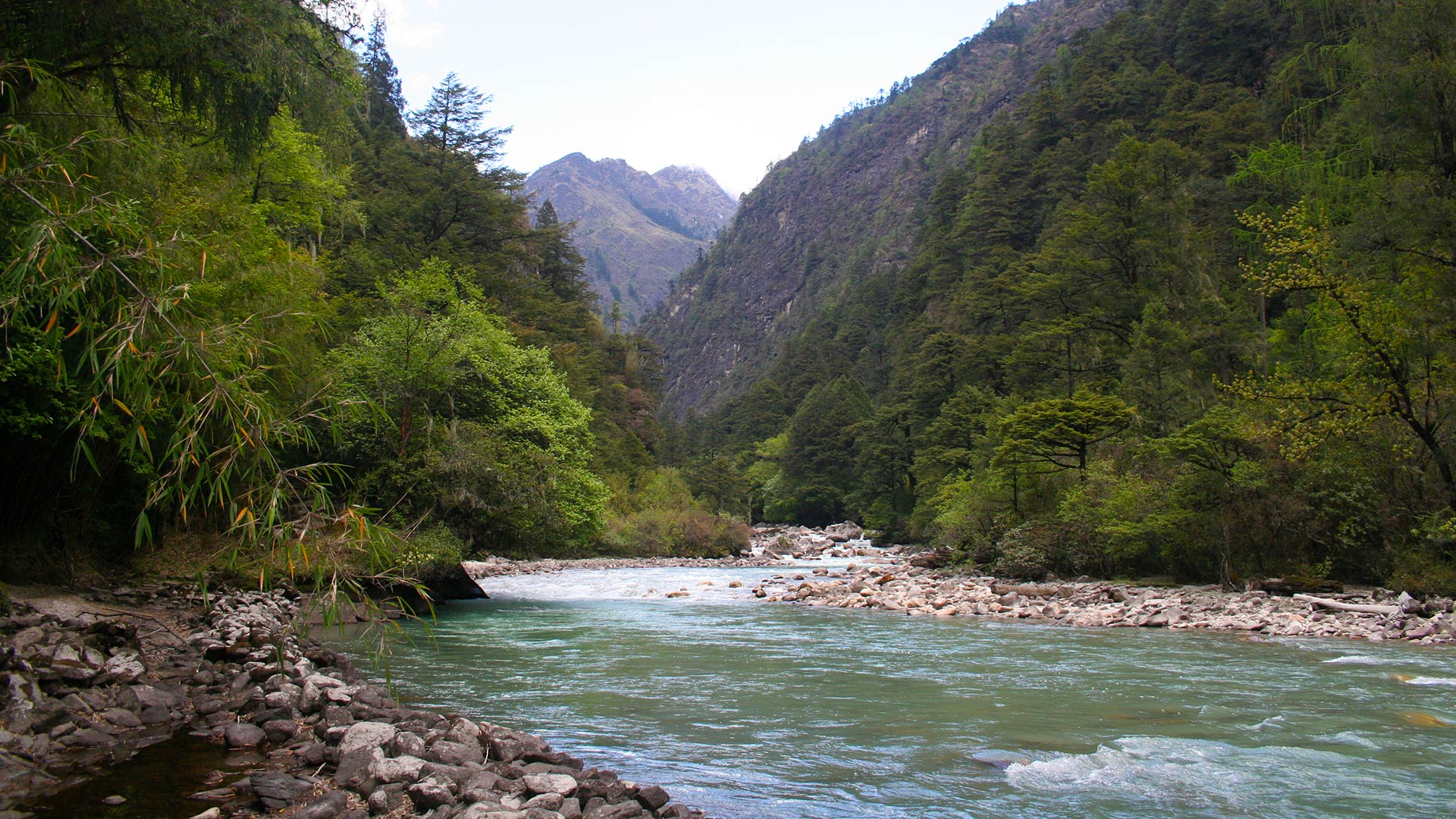 Crossing the Chamkhar Chu river on the Gangkhar Puensum trek in Bhutan