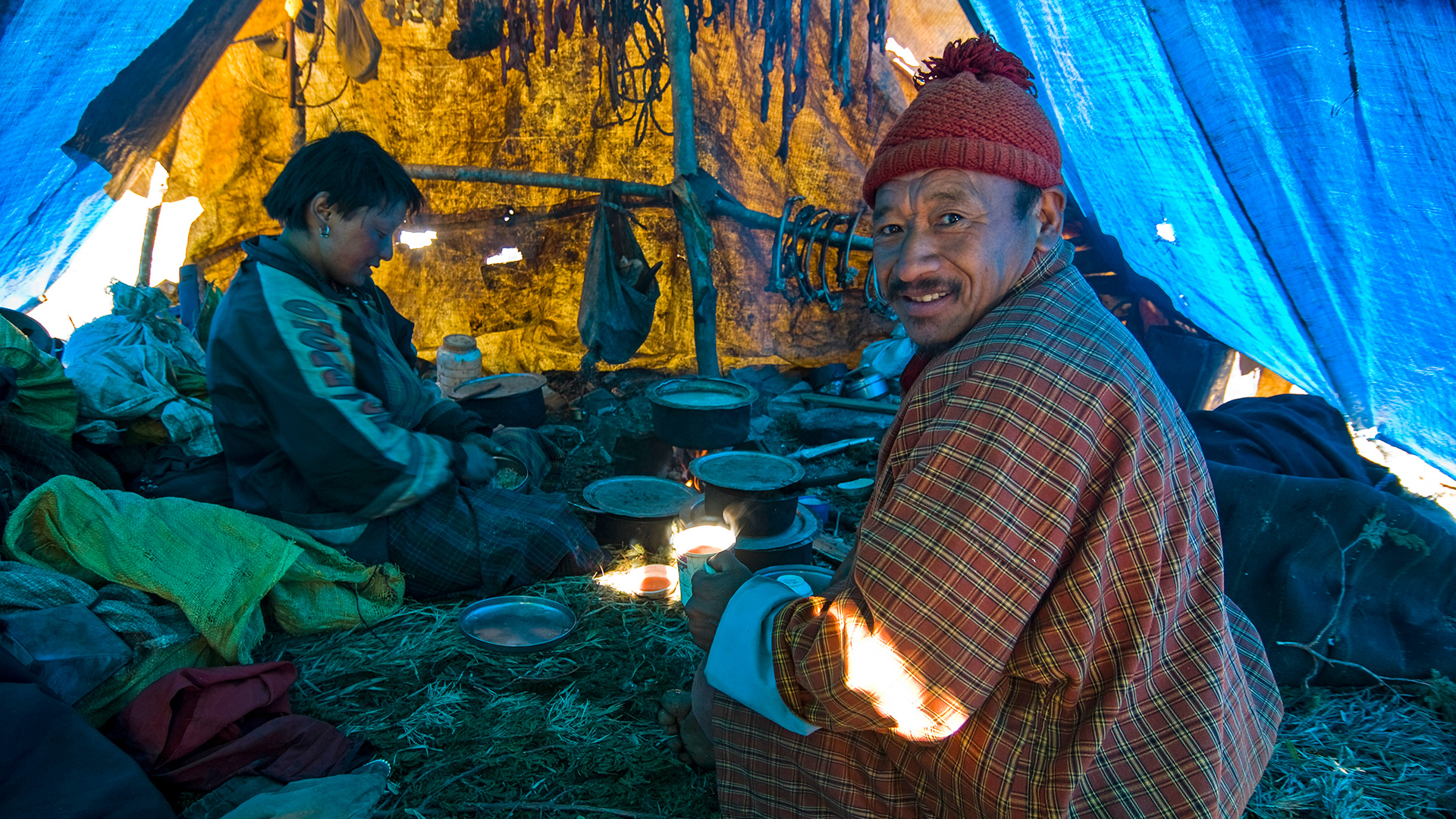 Nomads in their tent in rural Bhutan