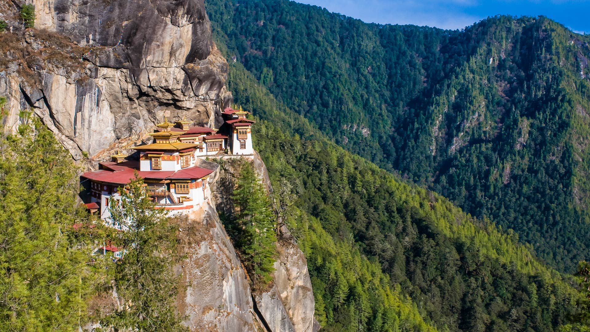 The iconic Tiger's Nest Monastery clinging to the hills near Paro, Bhutan