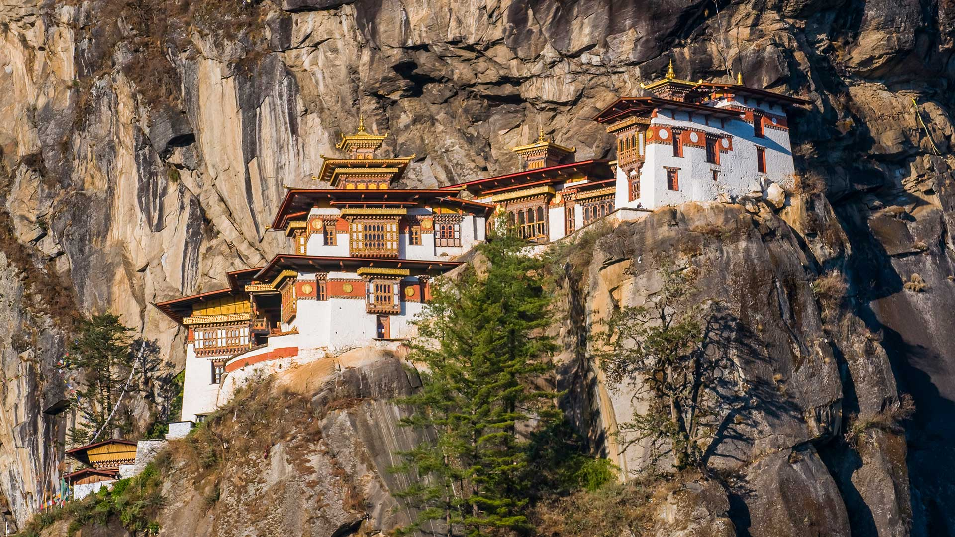 Tiger's Nest monastery, hanging off the cliffs outside Paro, Bhutan