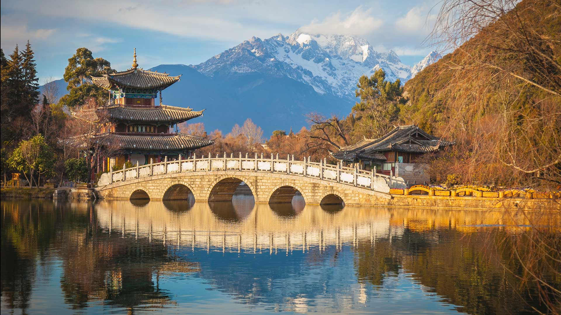 Temple and Black Dragon Pool with Jade Dragon Snow Mountain as backdrop, Lijiang, China with GeoEx