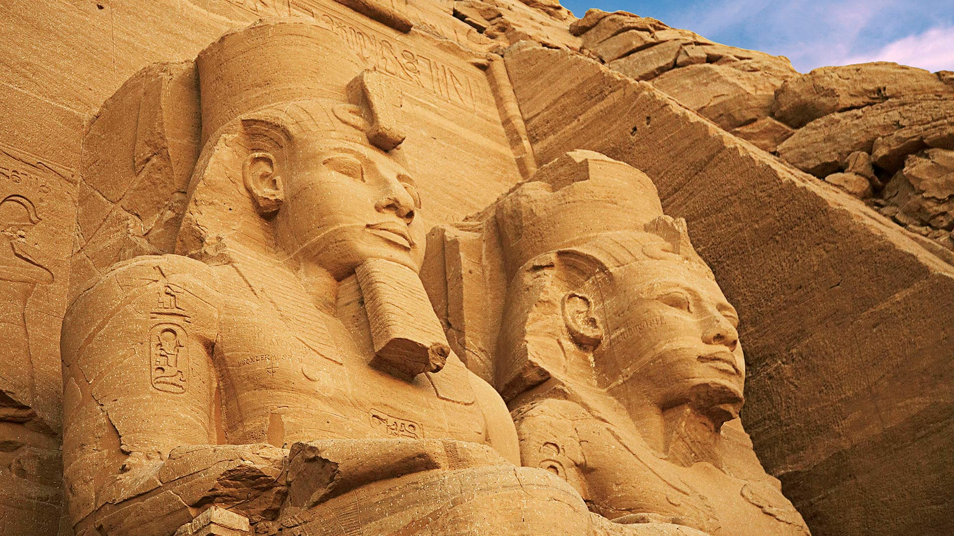 Colossal statues at the Greater Temple of Ramses II in Abu Simbel, Egypt