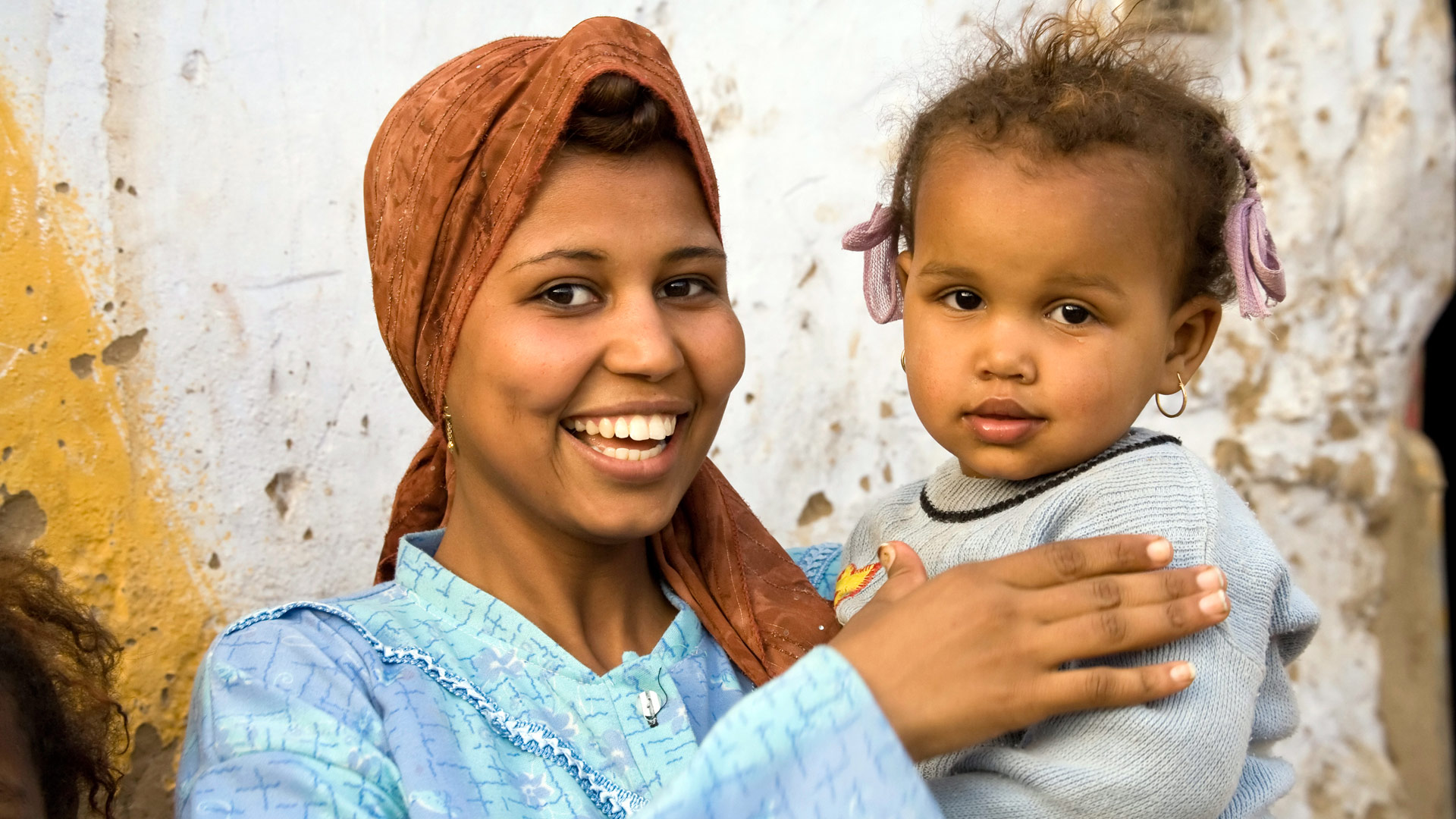 A local mother and child in the Nubian village of Cubania near Aswan, Egypt