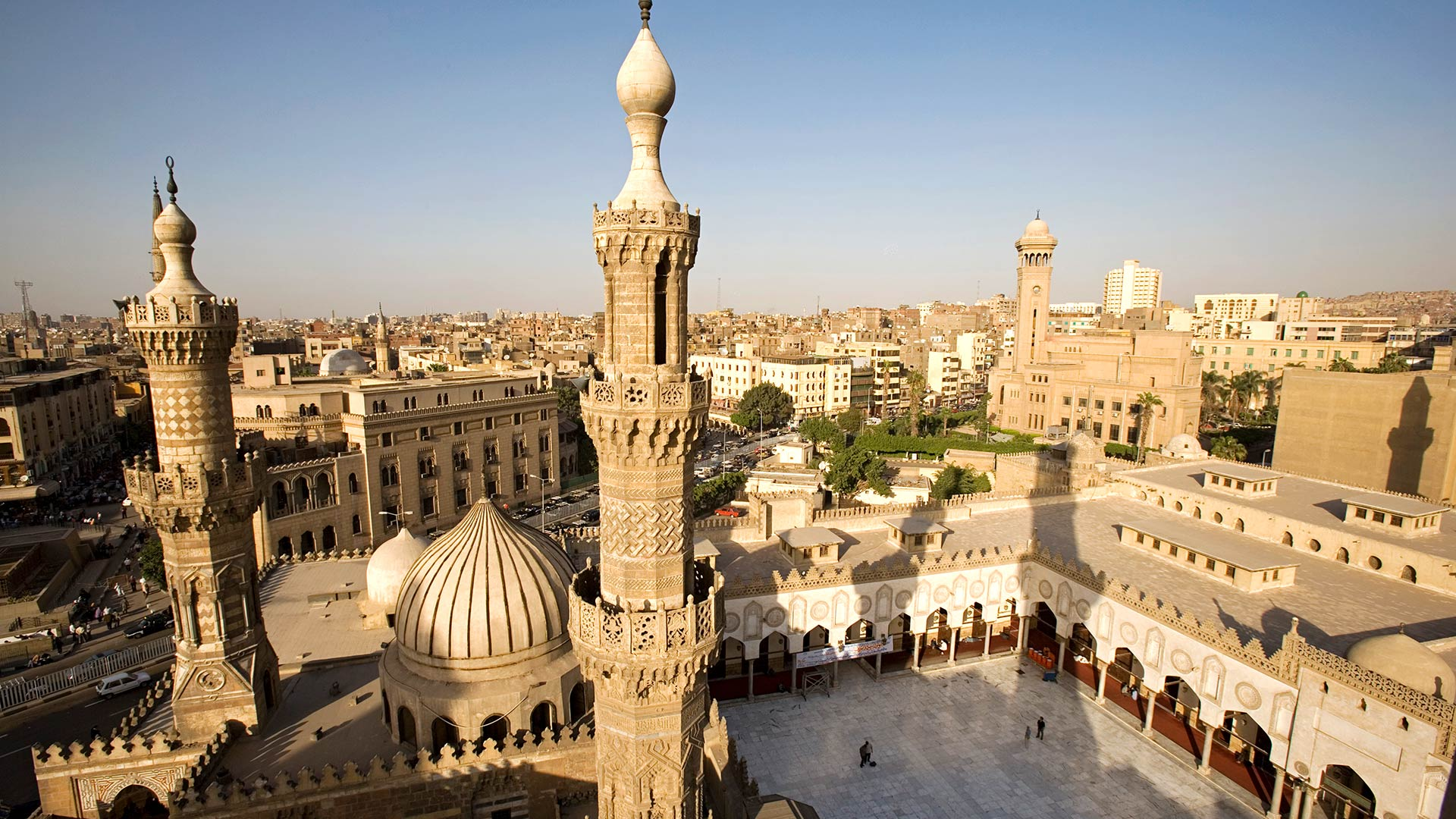 The minarets of the Al Azhar Mosque in Islamic Cairo, Egypt