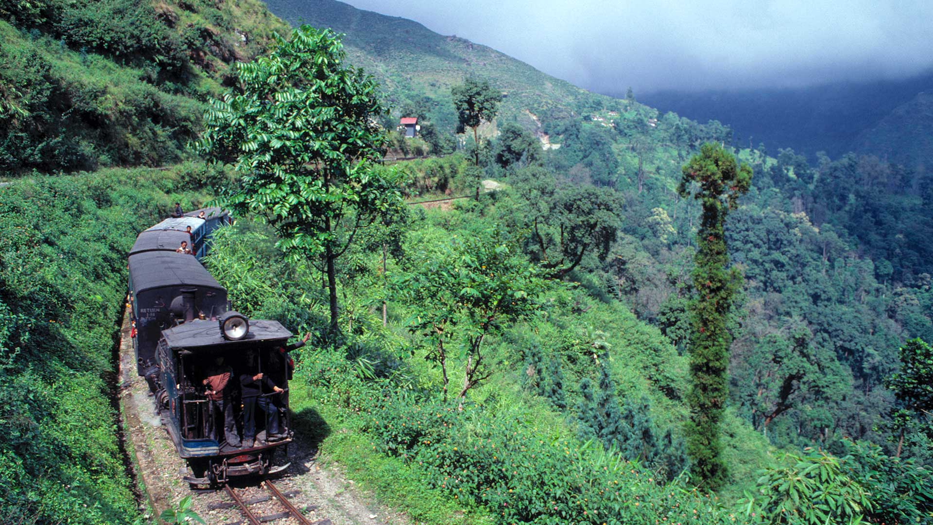 The Darjeeling Himalayan Railway, a UNESCO World Heritage Site, cuts through the lush hillsides of Darjeeling, India