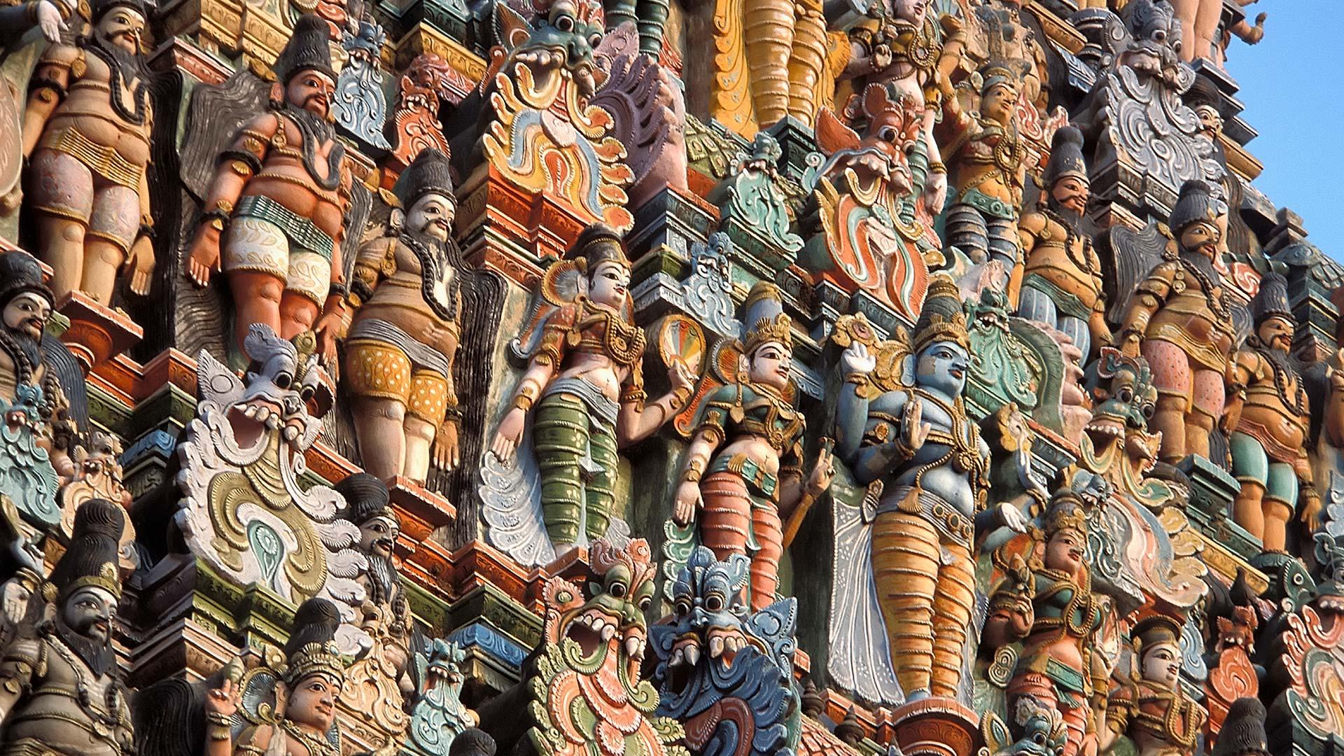 Gopuram detail of the Sri Meenakshi Temple in Madurai, India