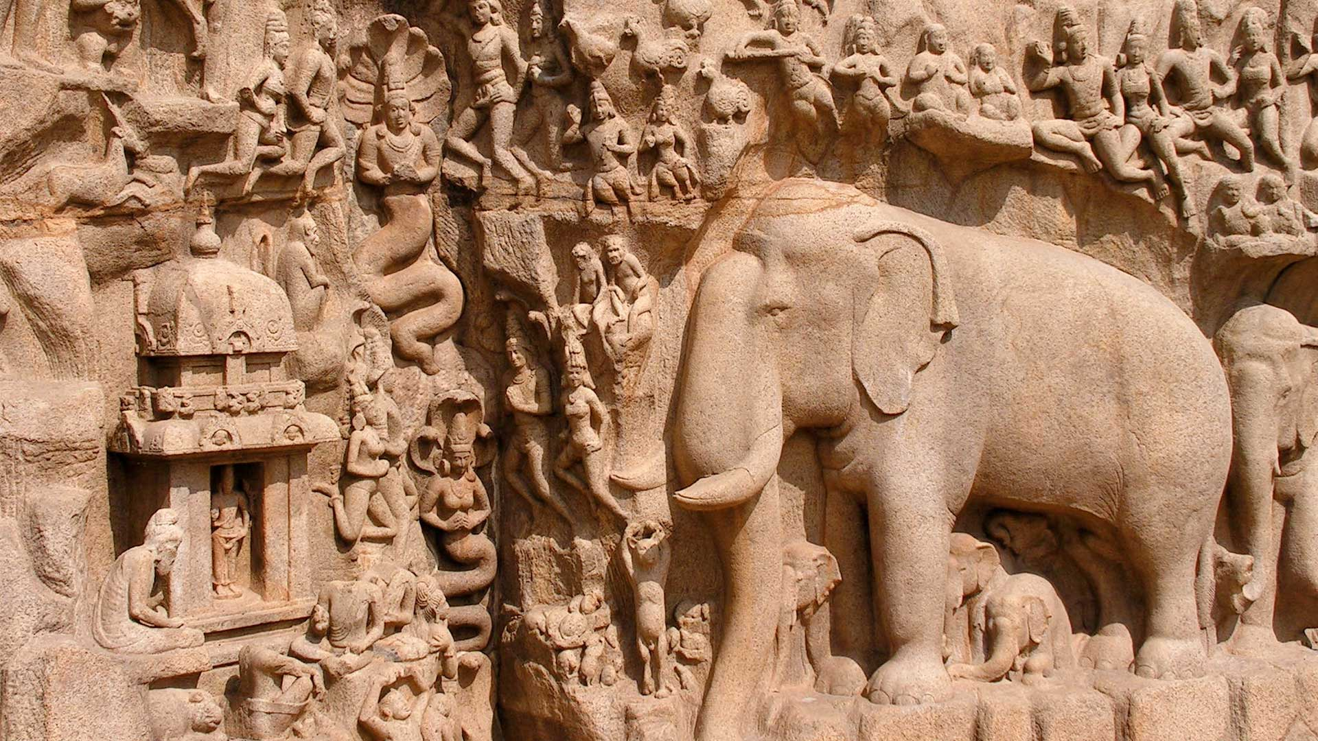 Intricate carvings depicting the descent of the Ganga in Mamallapuram, India with GeoEx