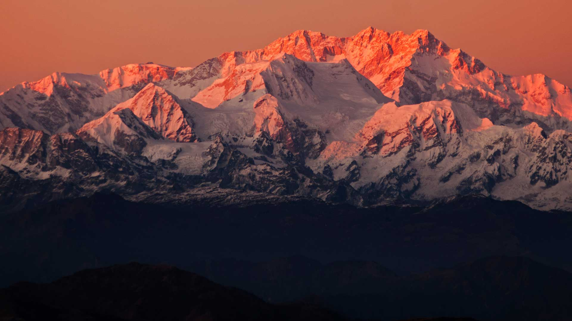 View of snowcapped Kangchenjunga in West Bengal, India