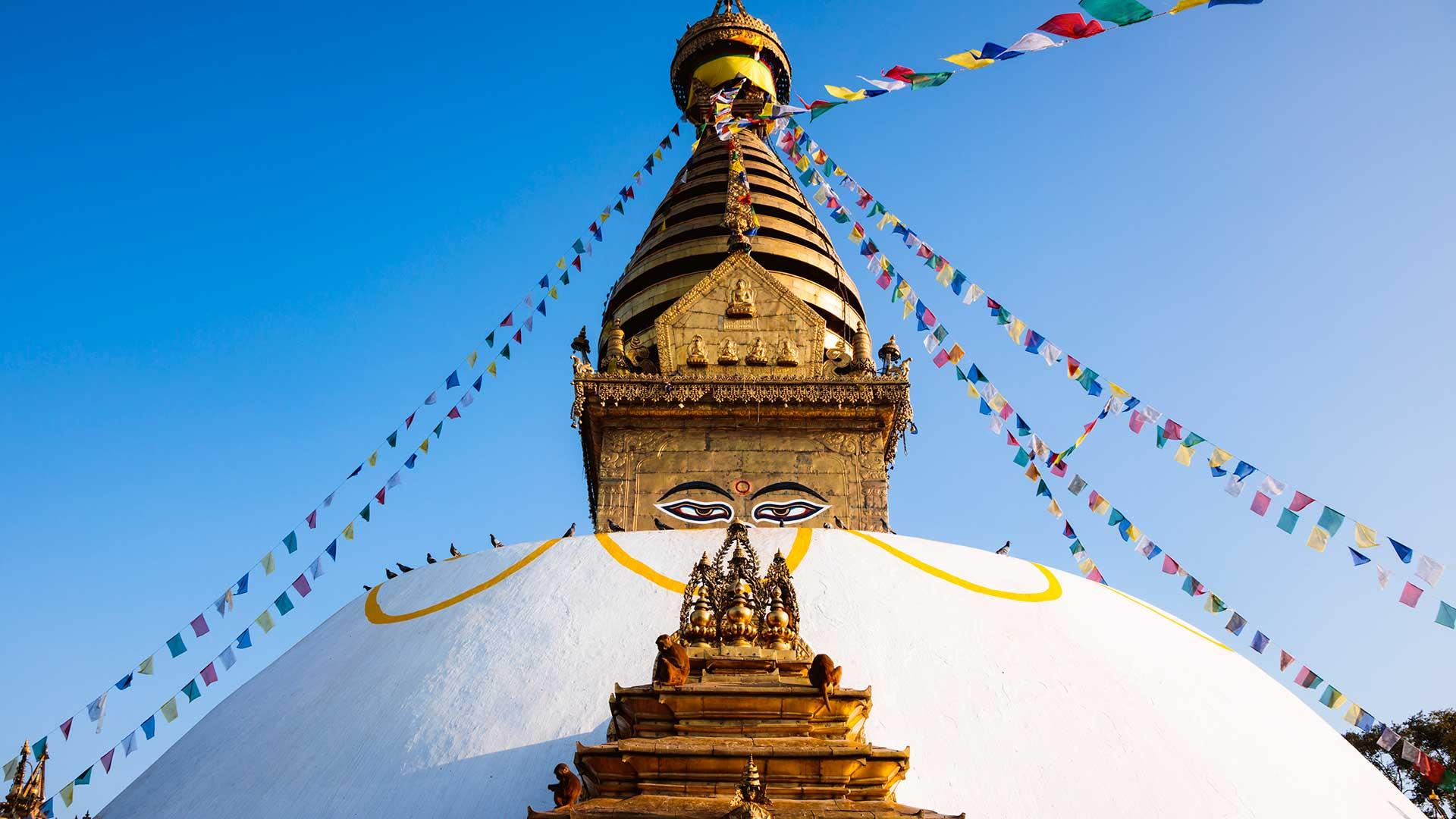 Sunrise at Swayambhunath Temple in Kathmandu, Nepal