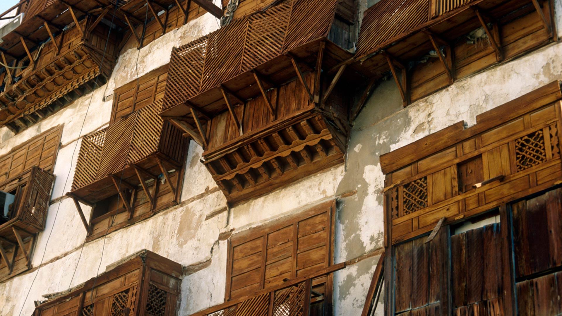Architecture in Al-Balad, the historic heart of Jeddah, Saudi Arabia