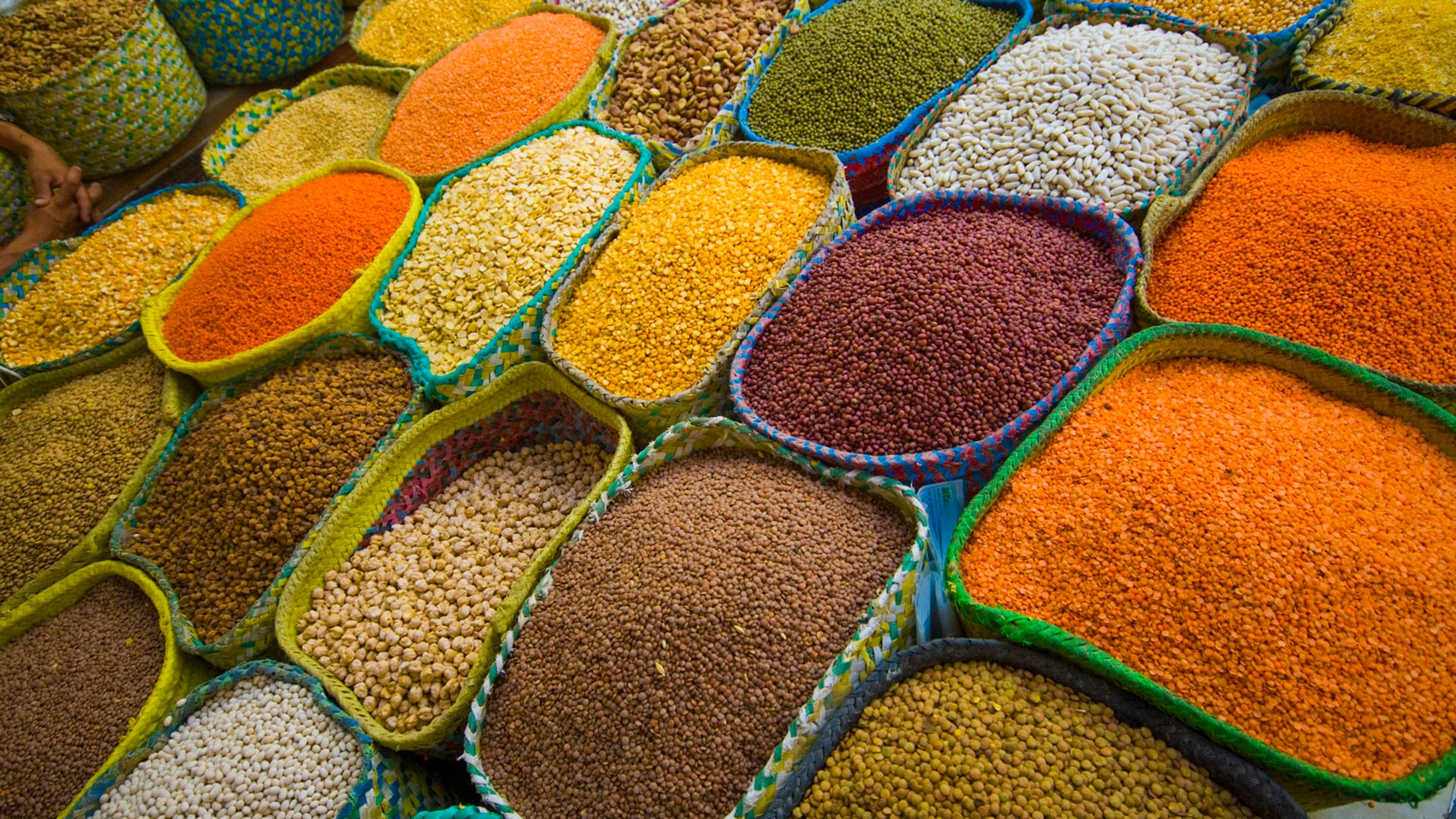 Spice and other foods in a souk in Jeddah, Saudi Arabia