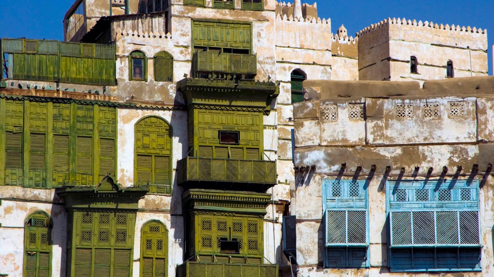 Traditional architecture in Jeddah, Saudi Arabia