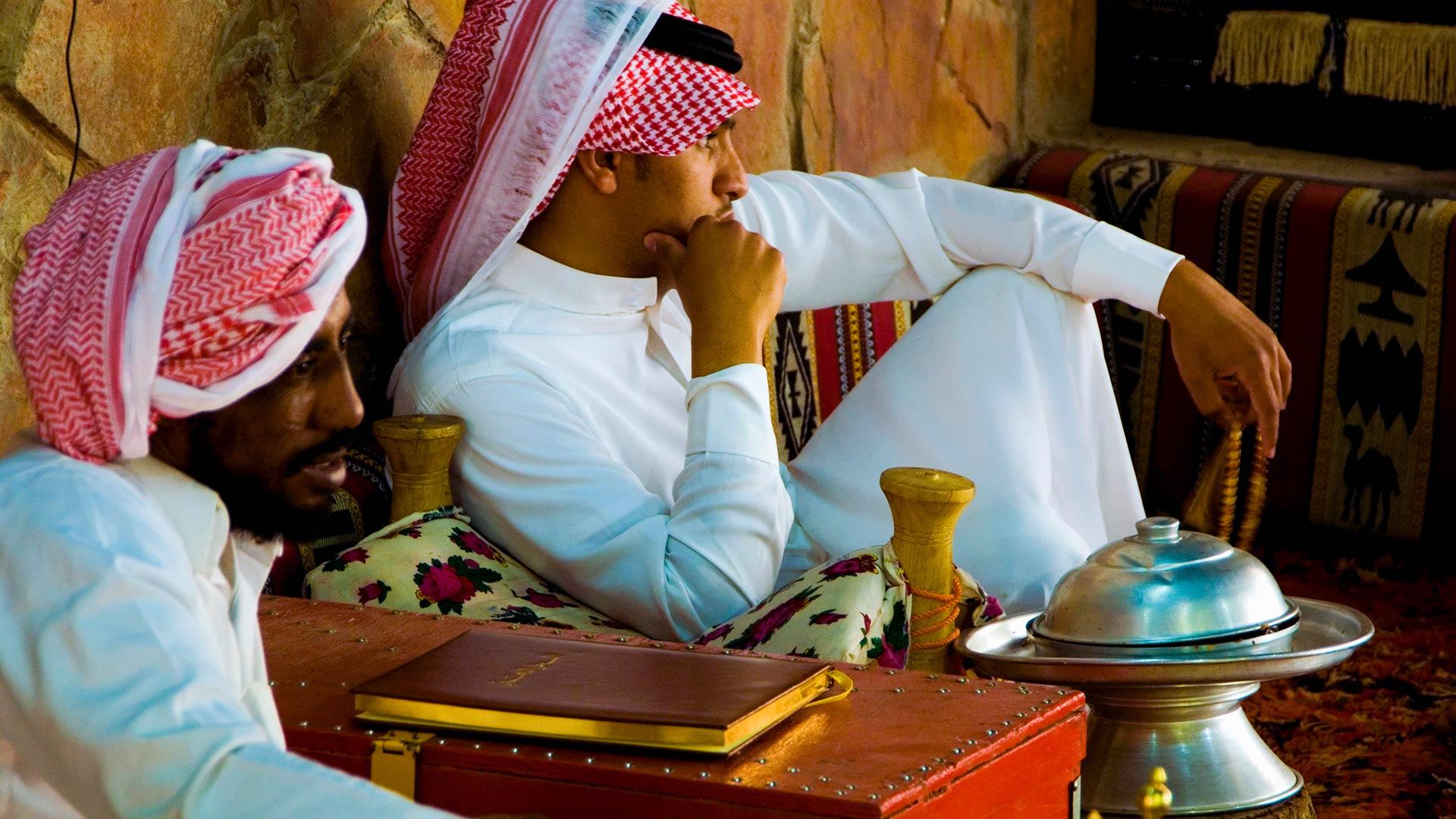 Men in tent in Jubbah, Saudi Arabia