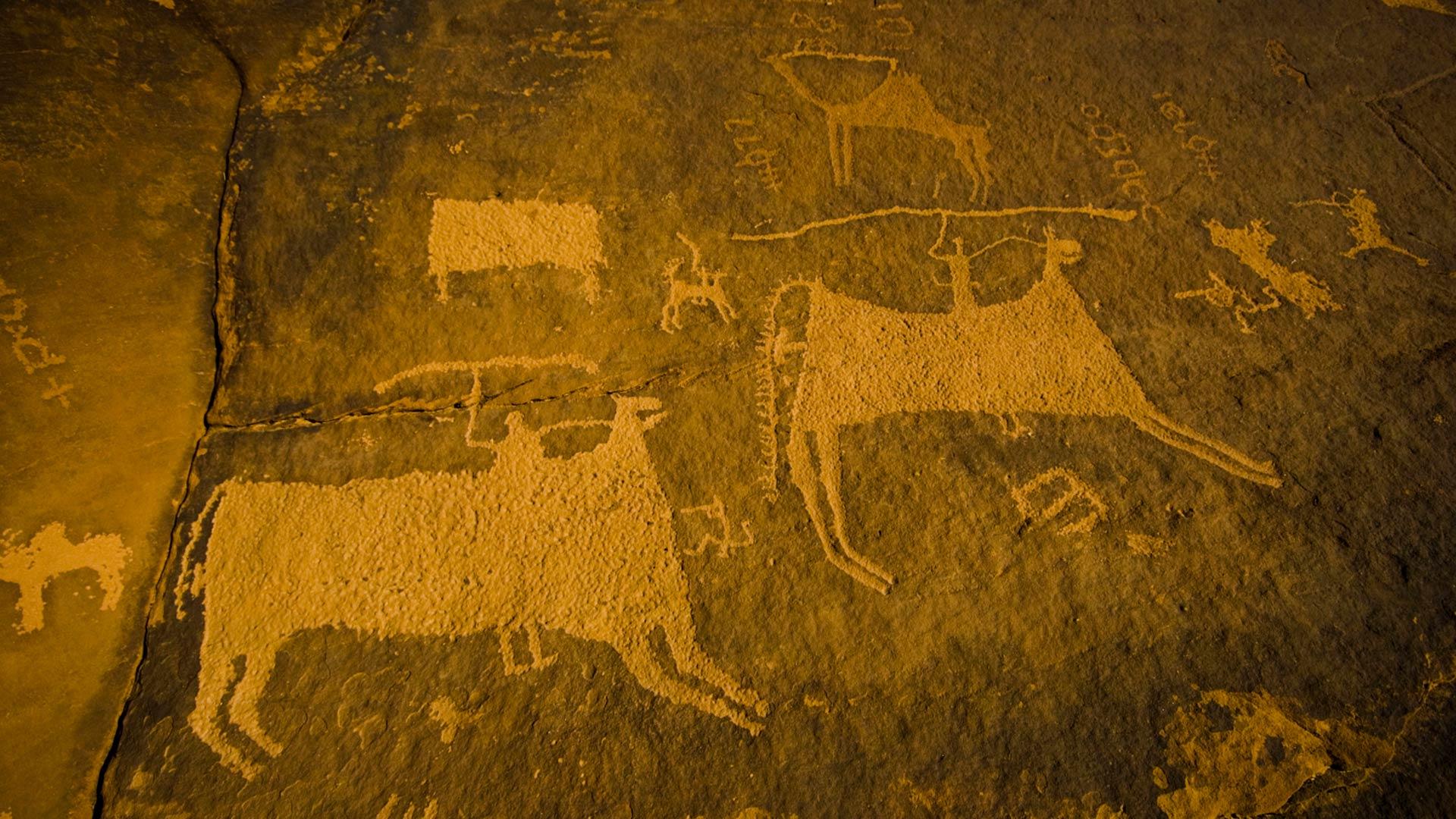 Old rock carving near Jubbah, Saudi Arabia