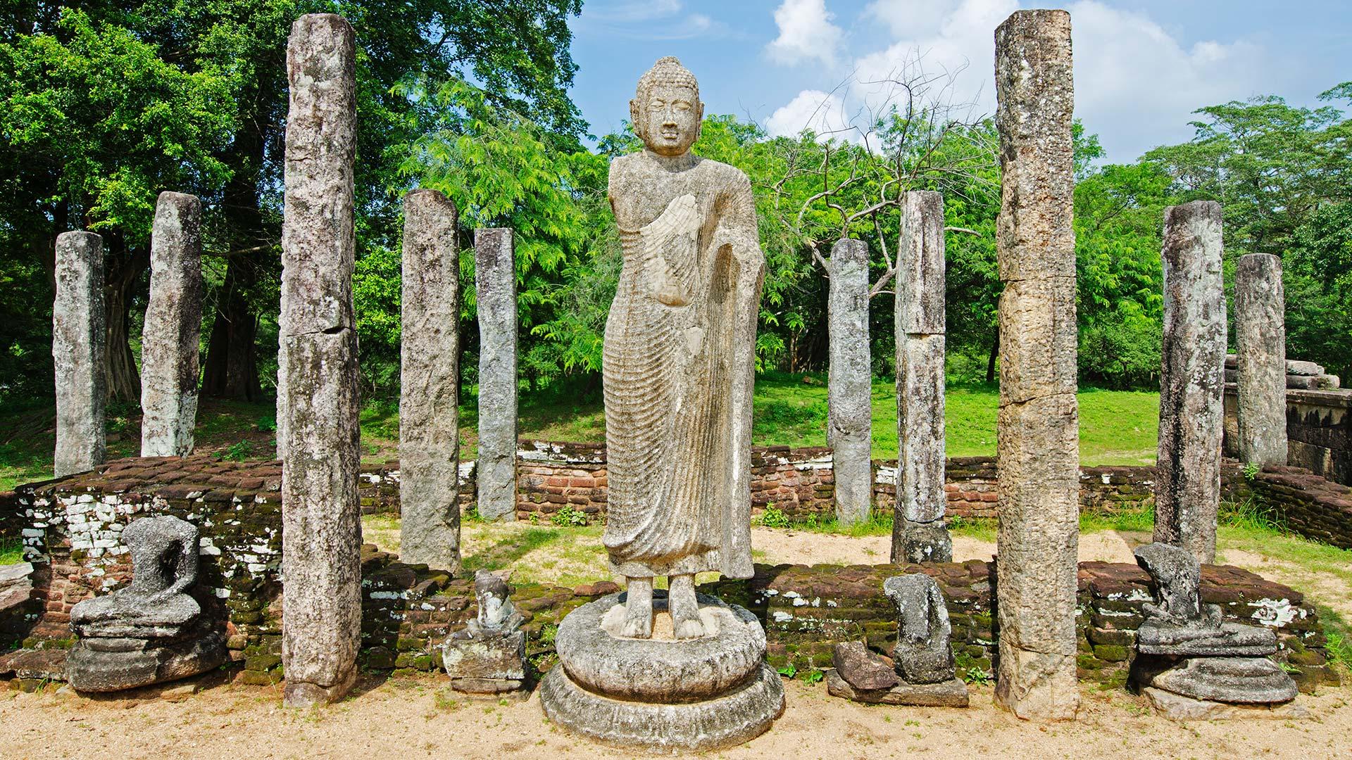 Standing buddha at Polonnaruwa, a UNESCO World Heritage Site in Sri Lanka.