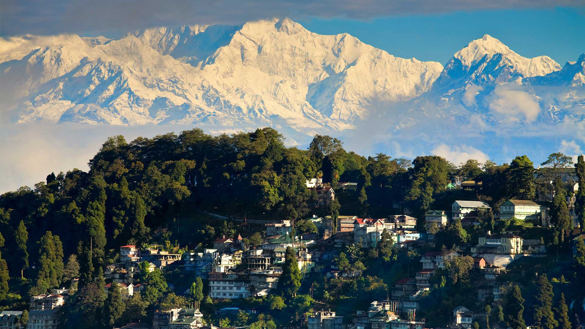 The town of Darjeeling perches on a hillside, with Mount Kanchenjunga behind in India with GeoEx.