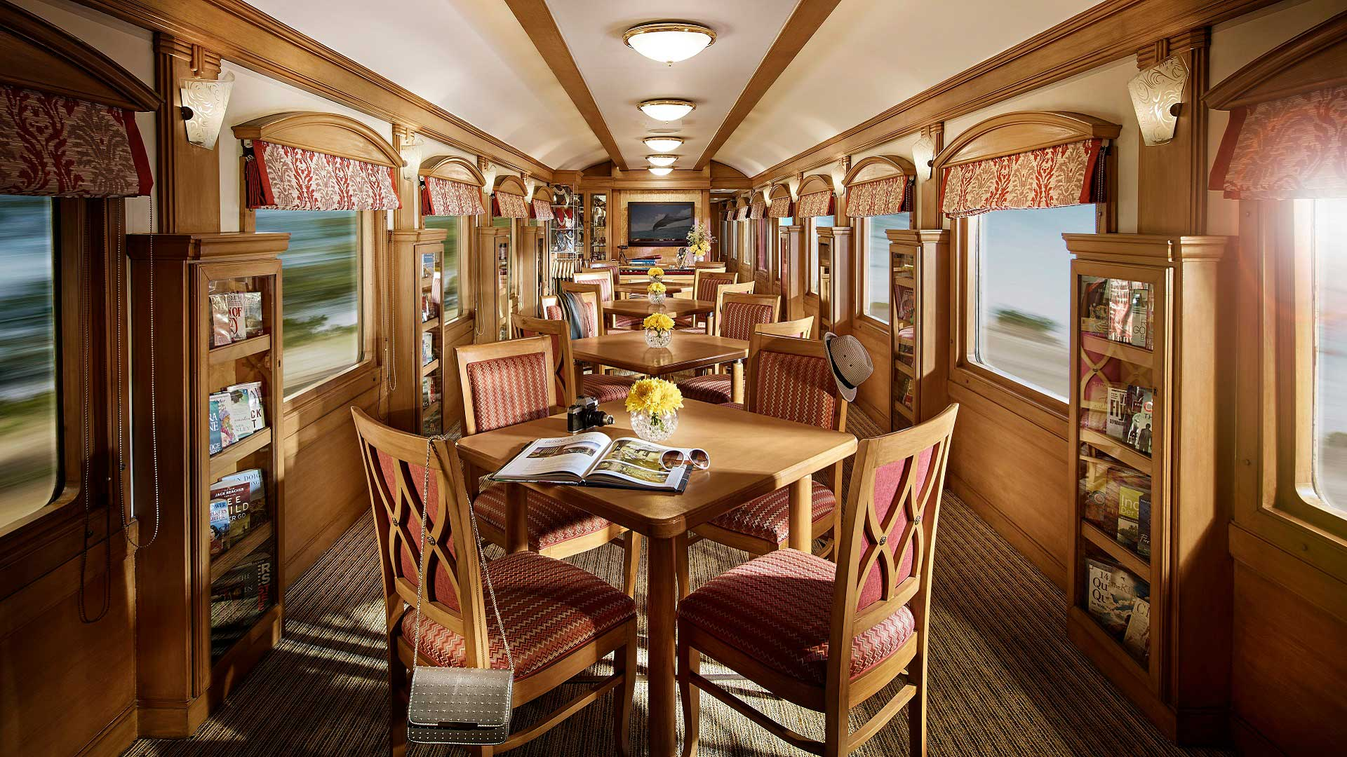 One of the lounge cars aboard the Deccan Odyssey train, which travels across India with GeoEx