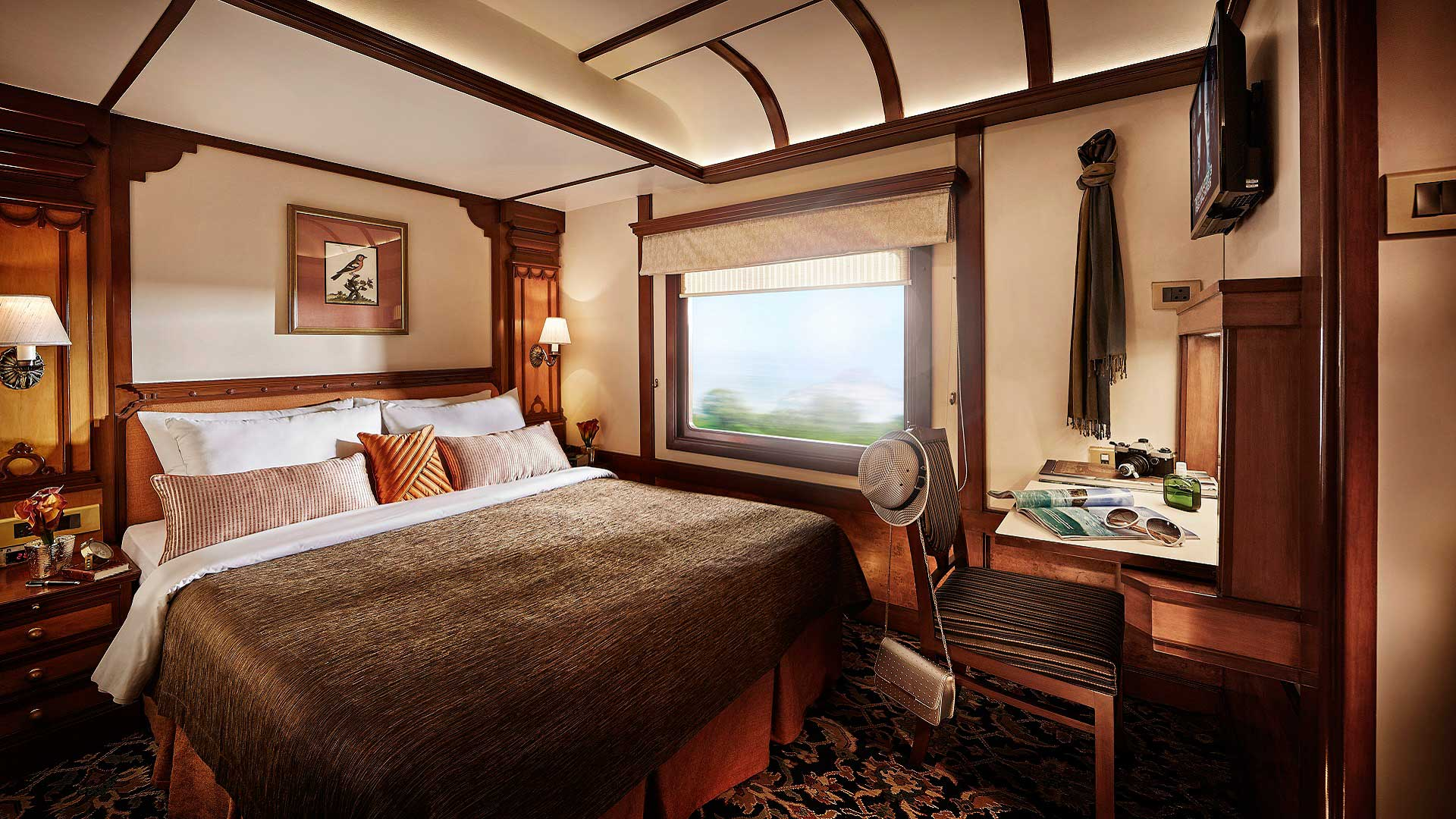 A Presidential Suite bedroom aboard the Deccan Odyssey train, which travels across India with GeoEx