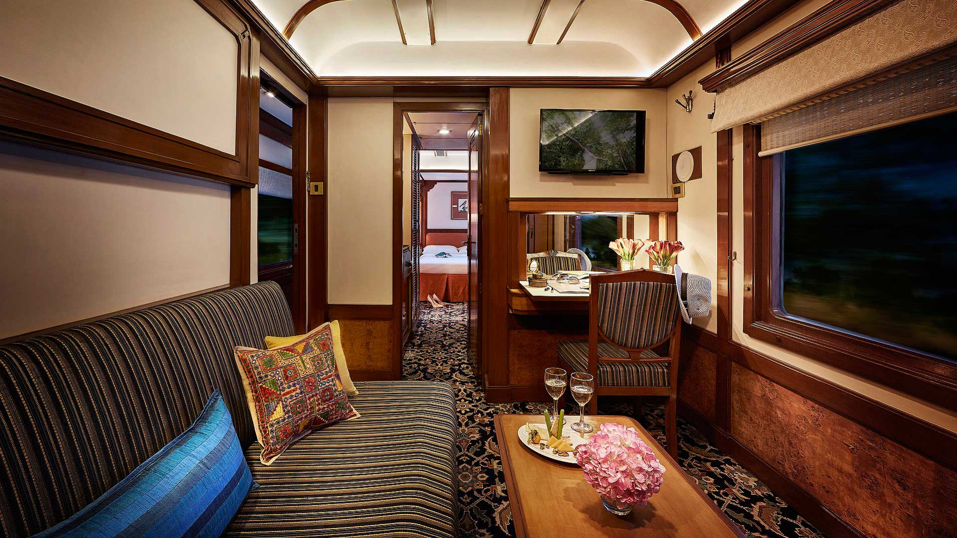 A Presidential Suite lounge aboard the Deccan Odyssey train, which travels across India with GeoEx