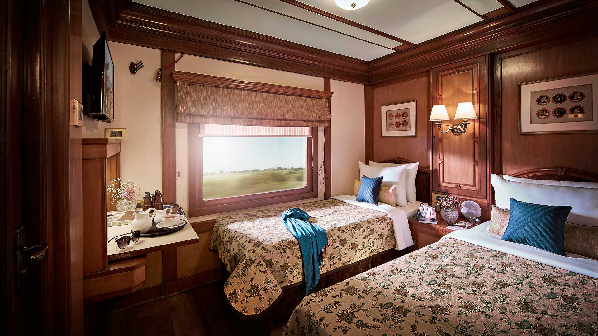 A Twin Cabin aboard the Deccan Odyssey train, which travels across India with GeoEx