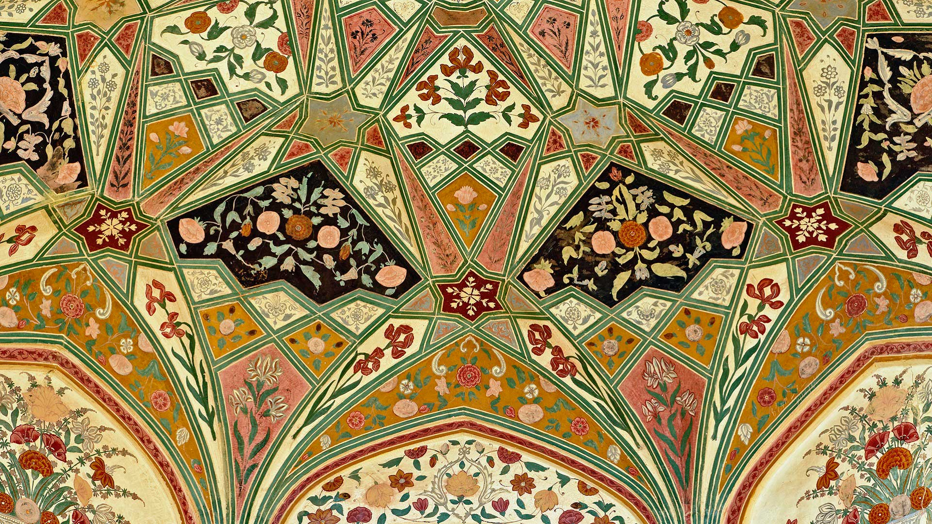 Ceiling details at Amer (Amber) Fort in Jaipur, India with GeoEx