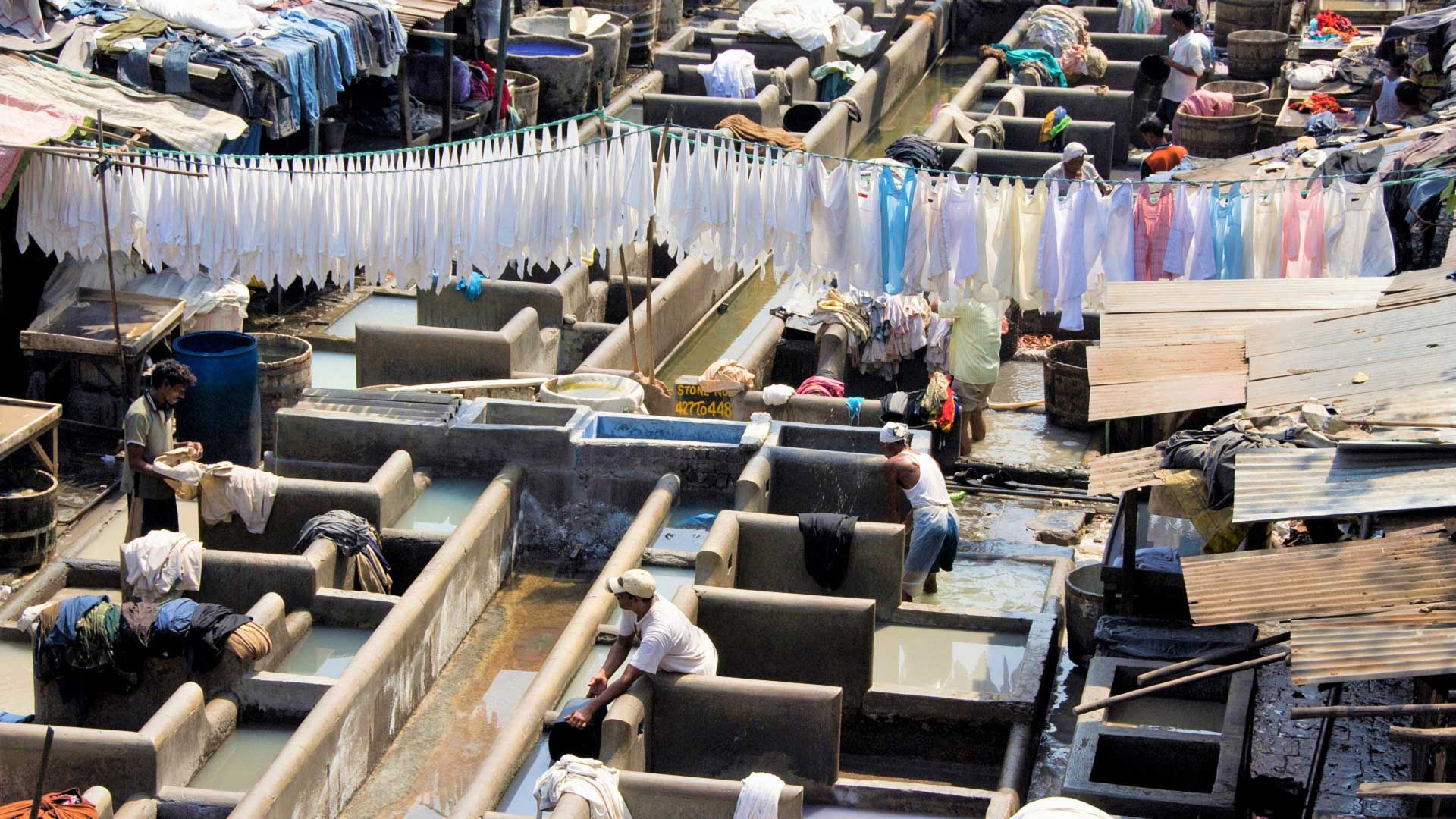 The Dhobi Ghat laundry, where most of Mumbai has washed clothes for generations, India with GeoEx