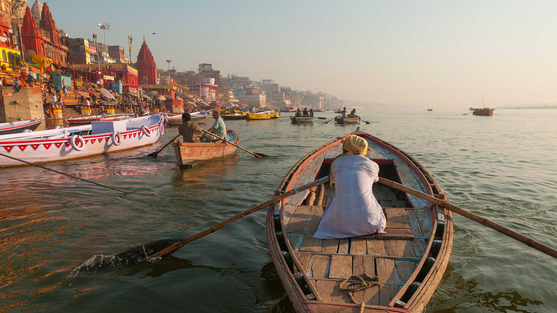 Morning scene on the Ganges ghats in Varanasi, India with GeoEx