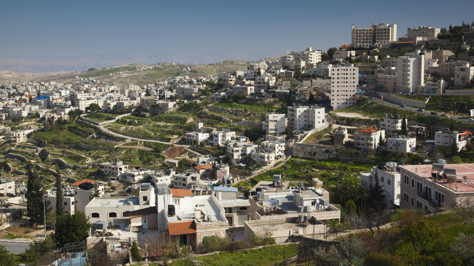 Bethlehem, elevated town view from Manger Street, West Bank, Israel.