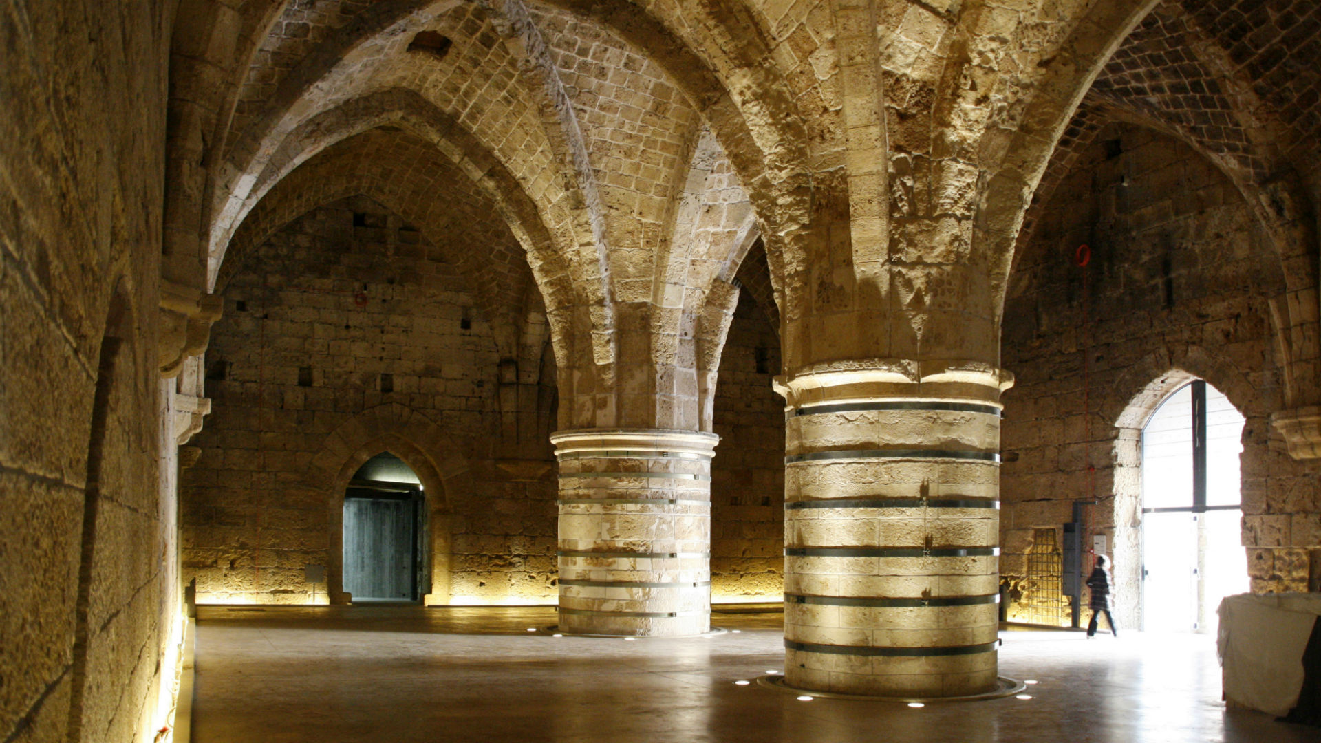 The Knights' Halls under the citadel and prison of Acre, Western Galilee, Acre (or Akko), Israel.