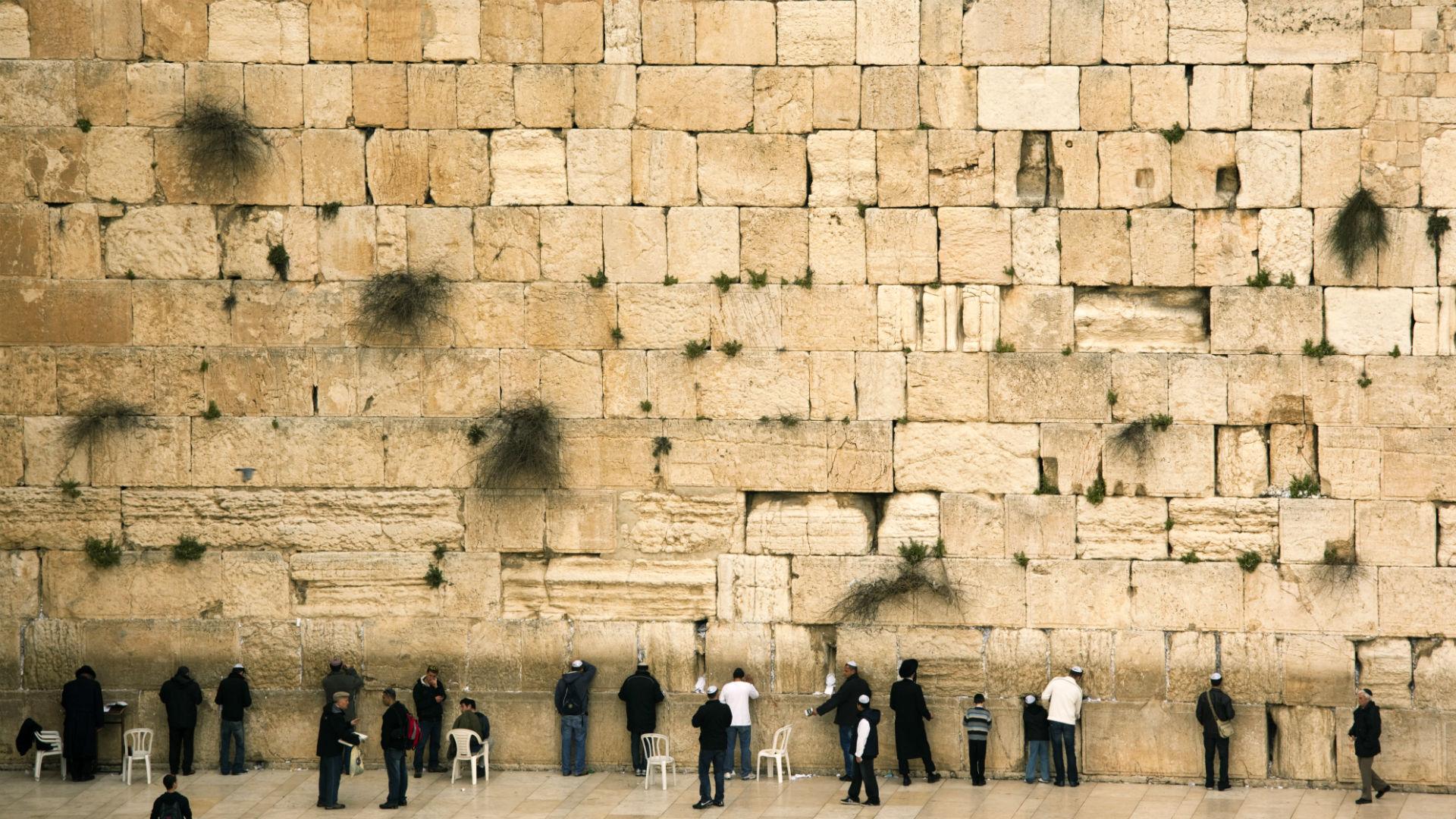 Praying at the wailing wall in Old City, Jerusalem, Israel
