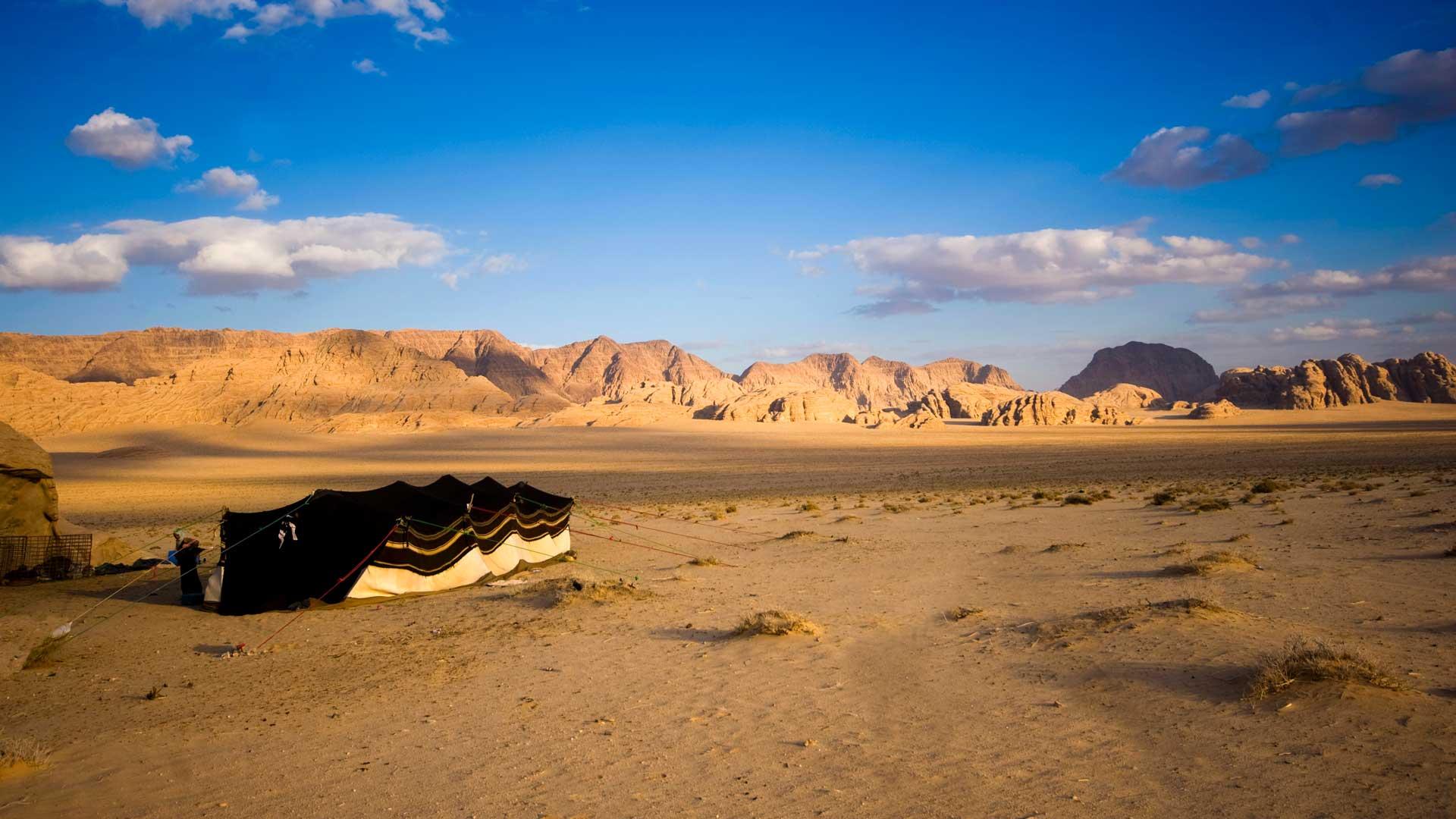 A Bedouin tent in the Wadi Rum desert, Jordan