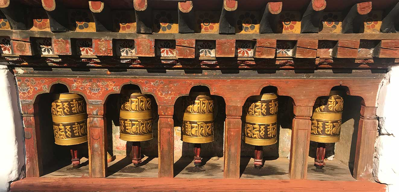 Prayer wheels in Bhutan.