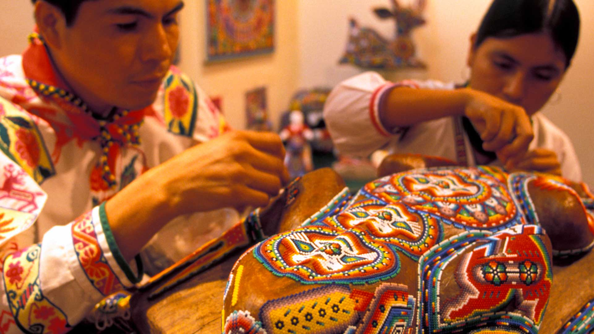 Huichol Indian Crafts Artisans and beadwork in Baja, Mexico