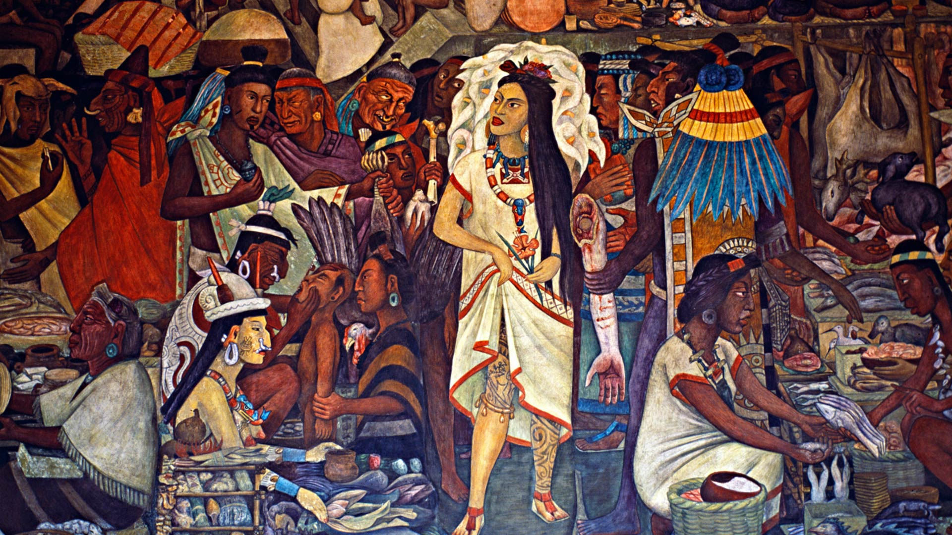 Murals inside the National Palace painted by Diego Rivera