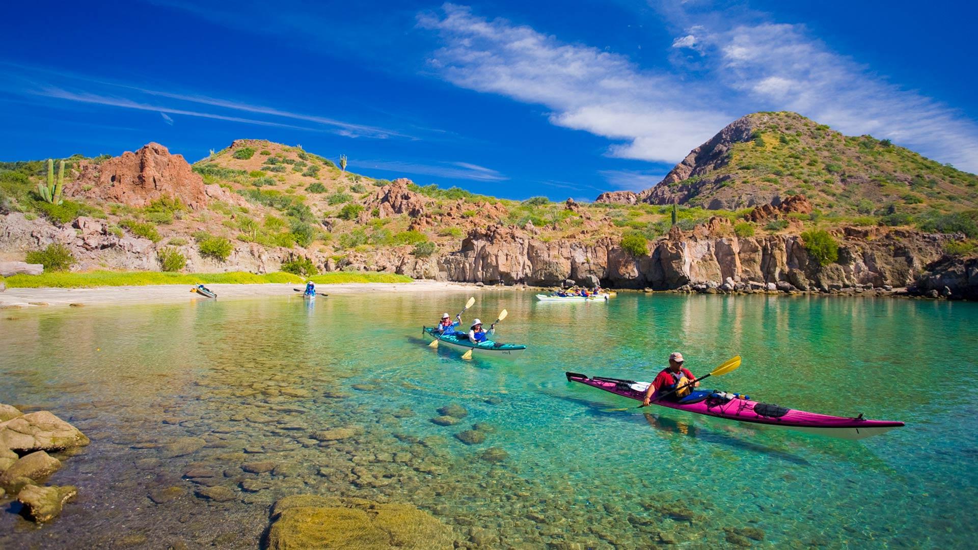 Sea Kayakers in Honeymoon Cove, Danzante Island