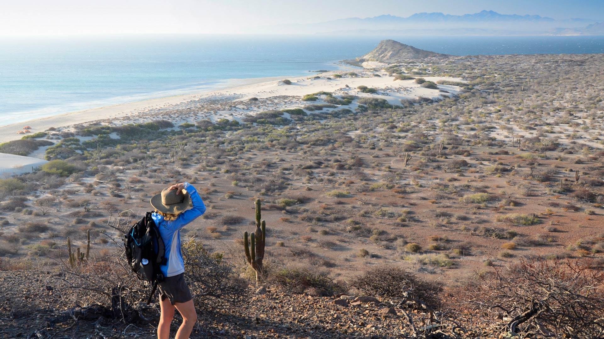 Woman hiker, Isla de Espiritu Santo, Baja