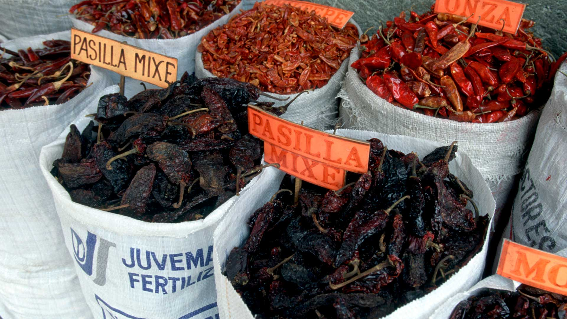 Dried chiles at a market in Mexico.