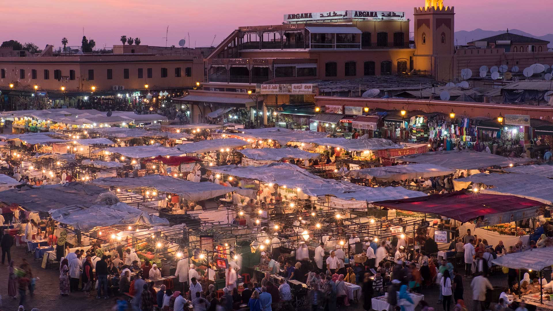 Sunset over the famous Djemaa El-Fna square in Marrakech