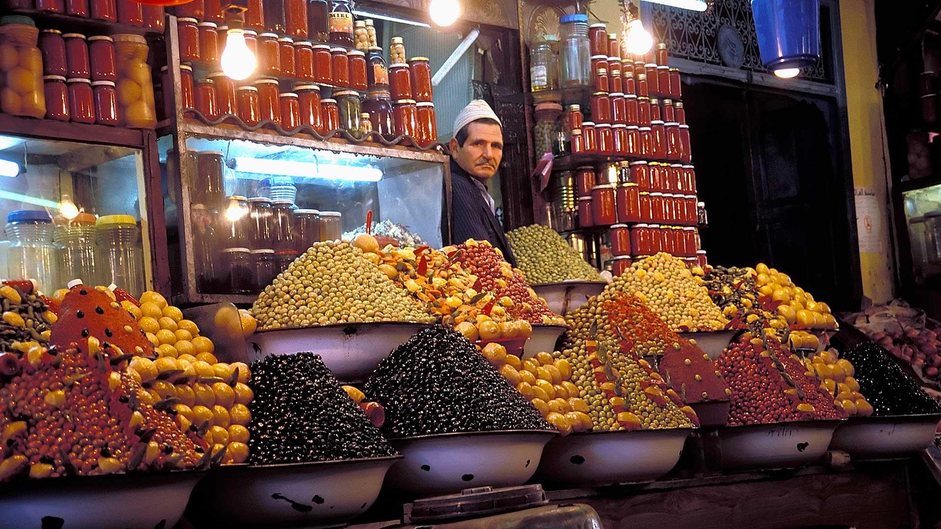 Olive vendor in the bazaar of the Medina of Meknes