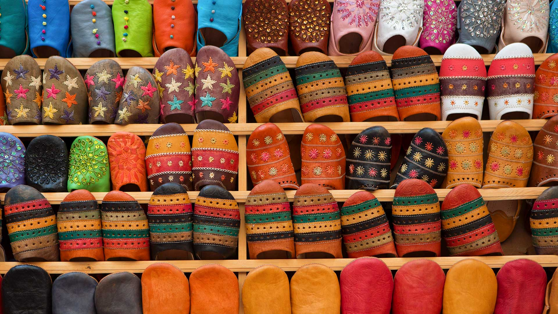 Typical Moroccan shoes, Medina of Fes