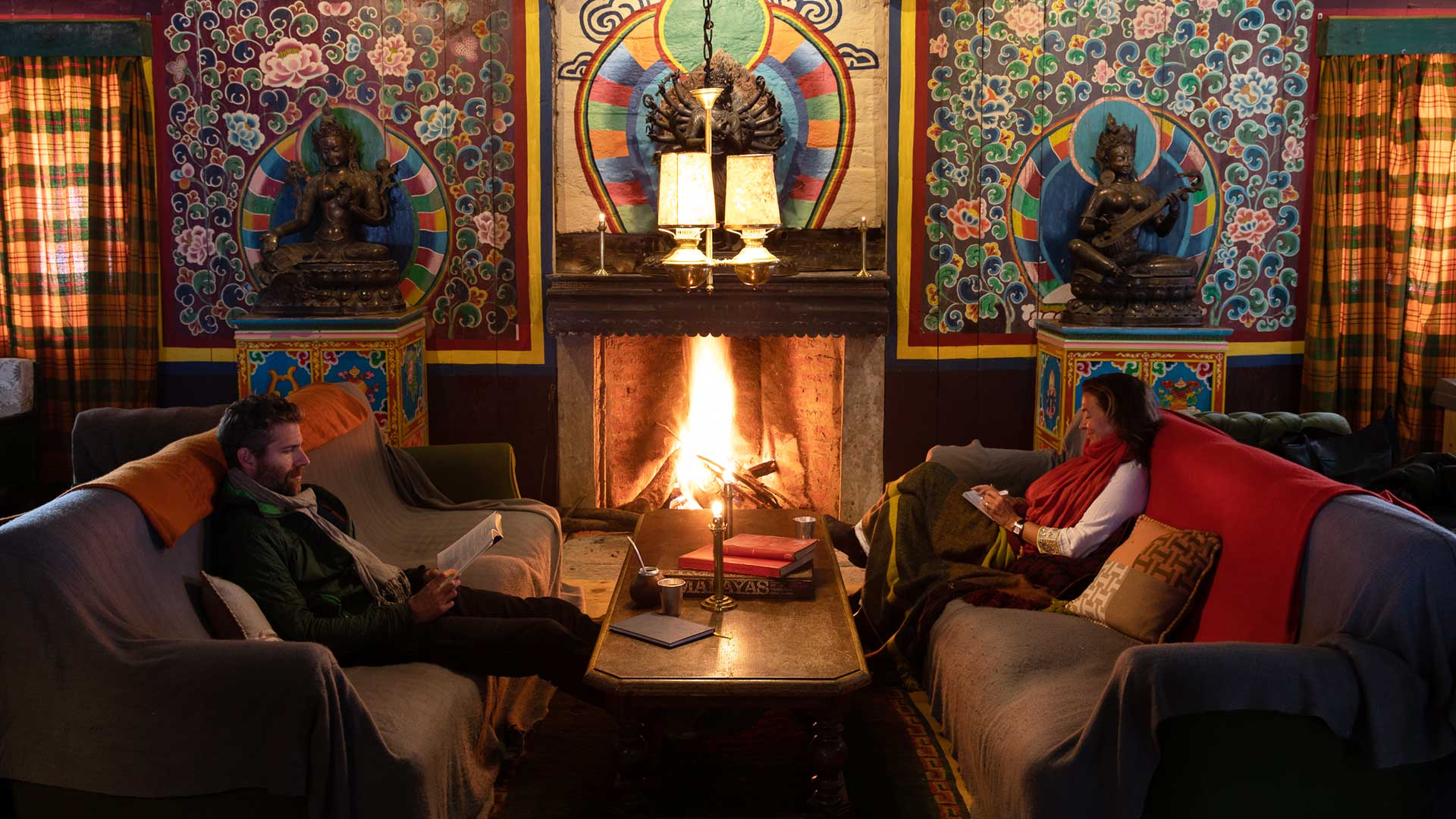 Cozy by the fire at The Happy House