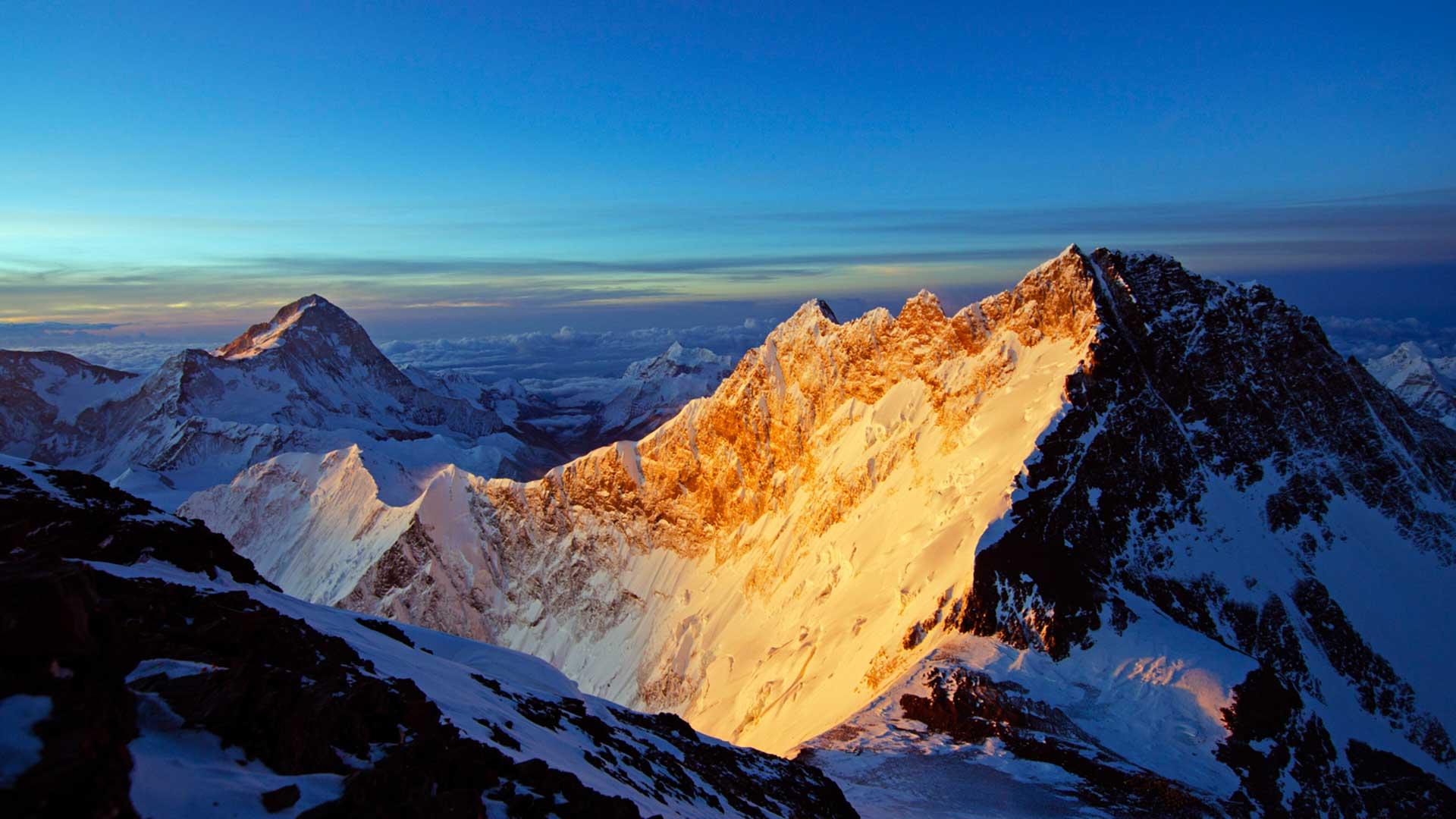 Everest bathed in golden light