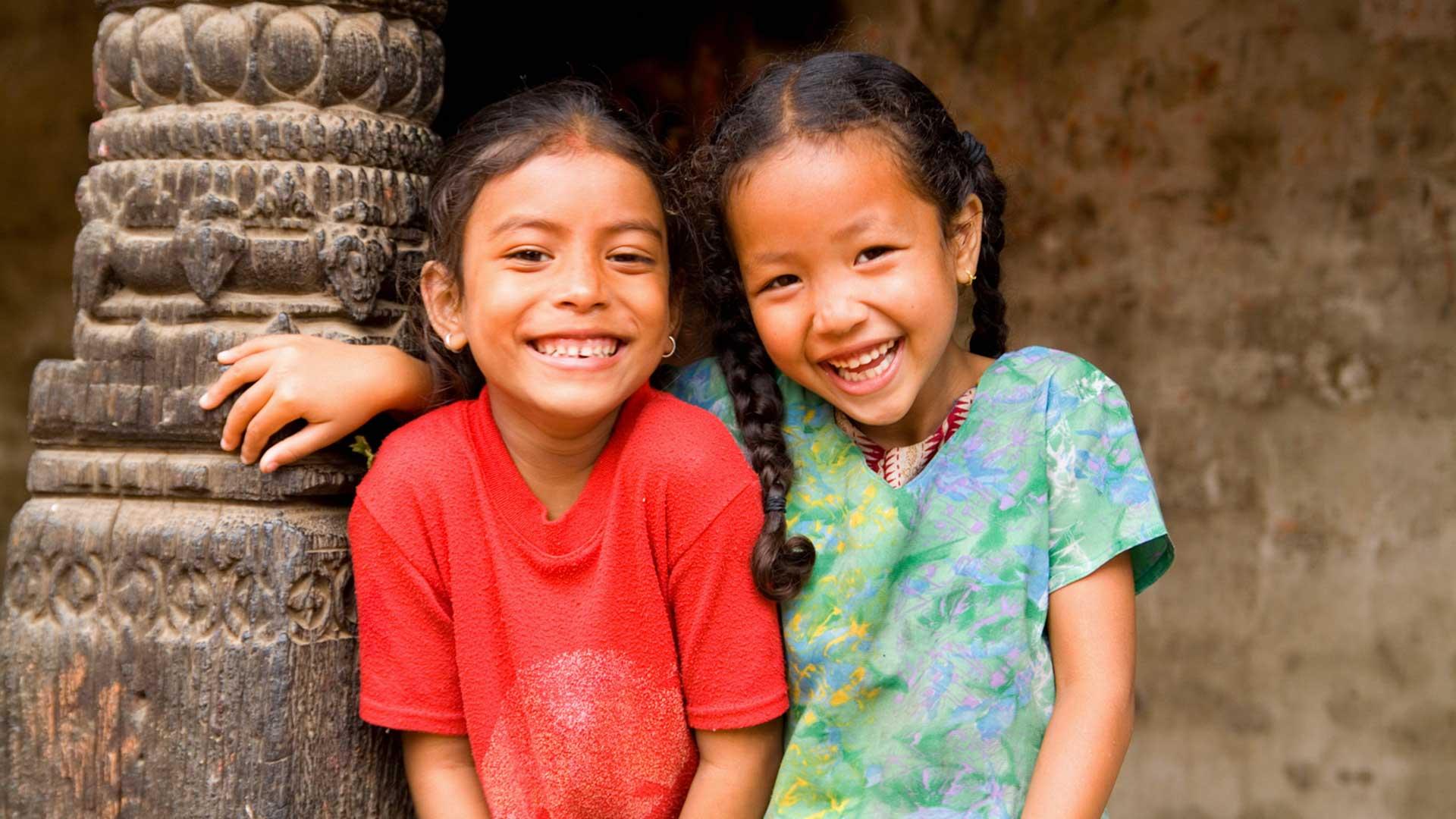 Local girls in village of Bhaktapur
