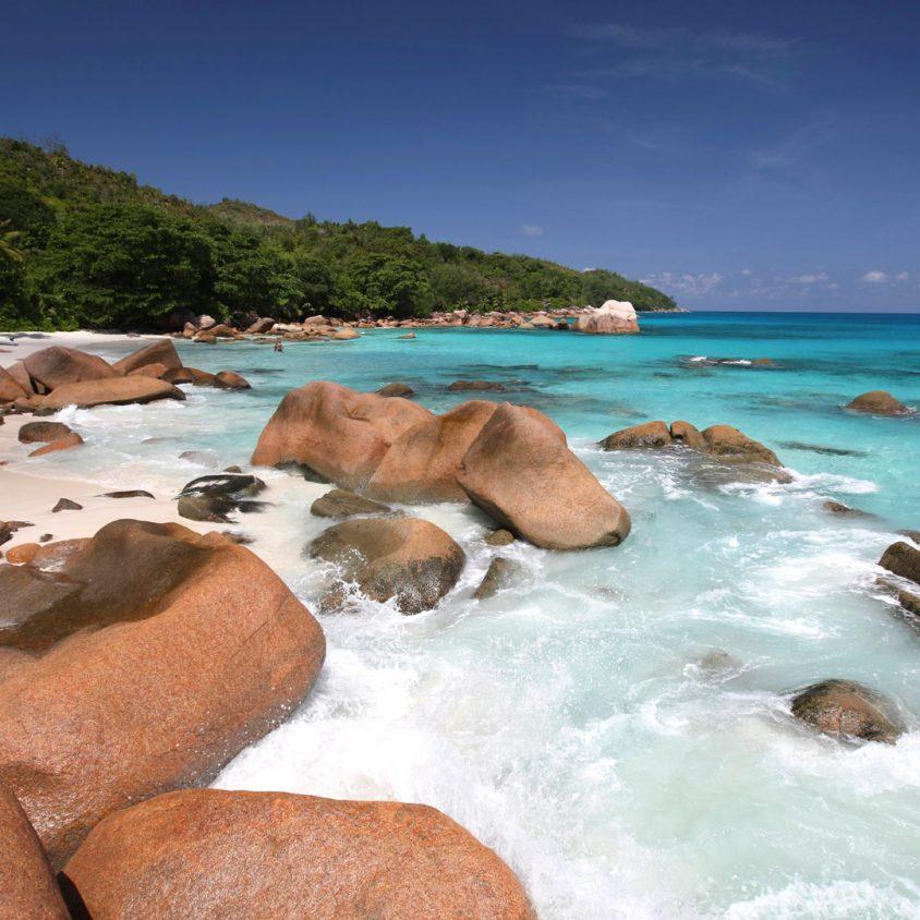 Pristine Anse Lazio beach on Praslin Island, Seychelles
