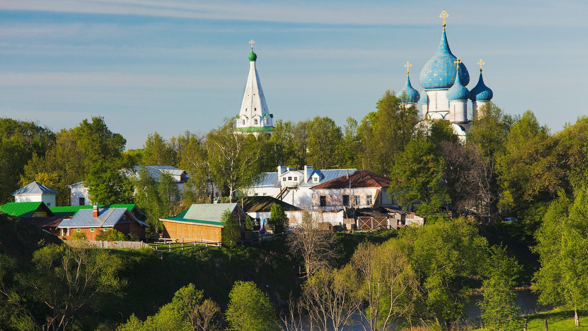 Elevated view of the town of Suzdal, Golden Ring, Vladimir Oblast, Russia with GeoEx