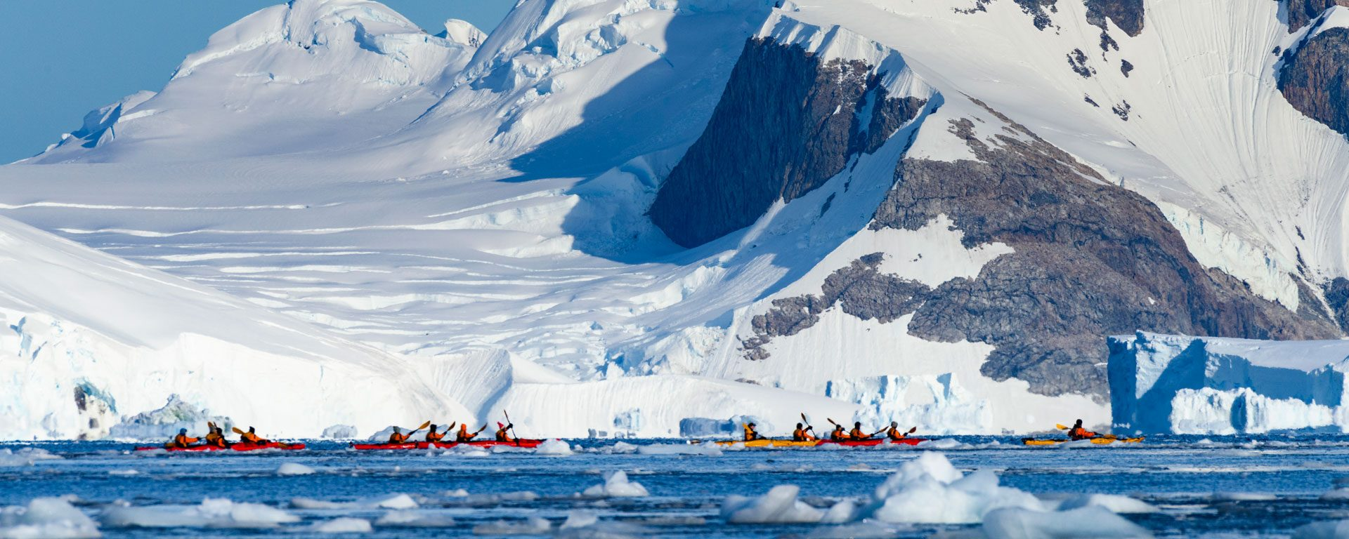 A group of kayakers in Adie Cove, Antarctica
