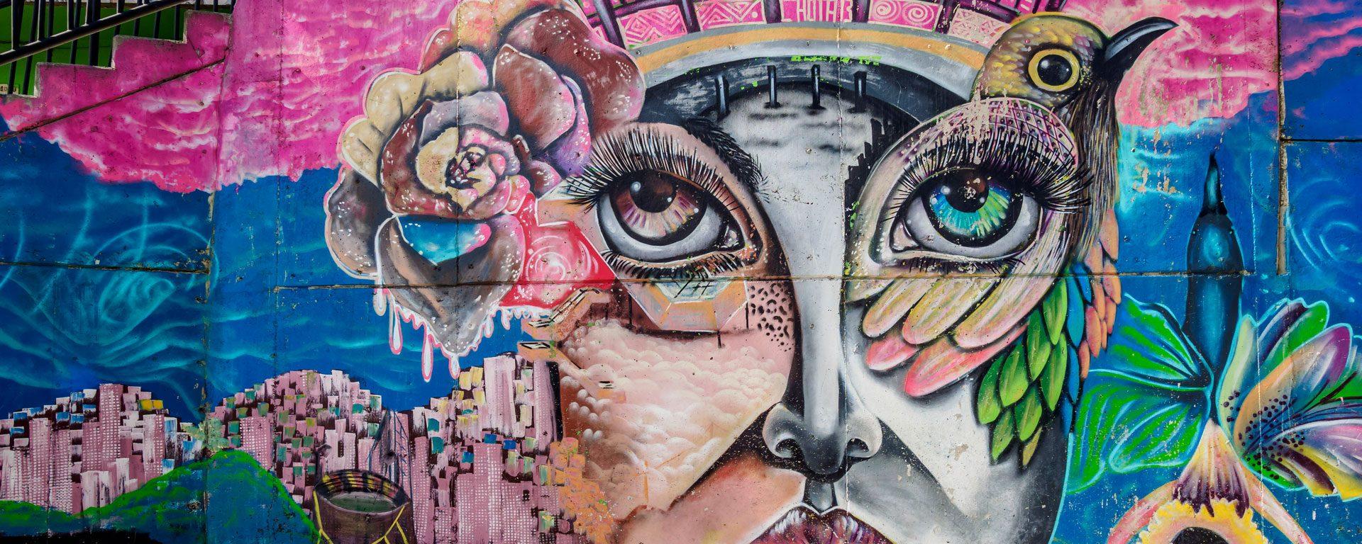 Colorful street art in Comuna 13 in Medellin, Colombia