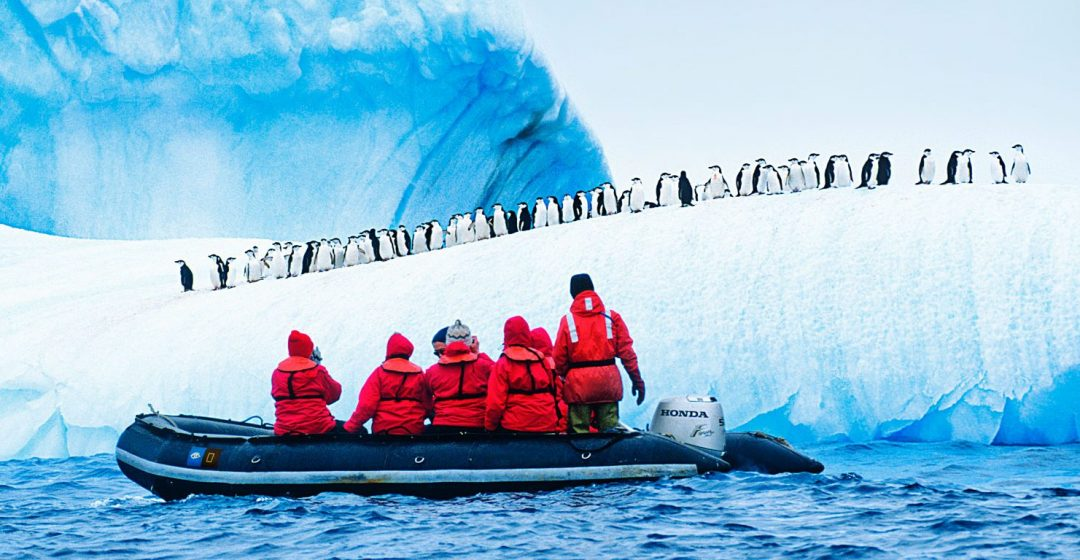 Tourists in a zodiac observe a colony of penguins on an ice ridge in Antarctica